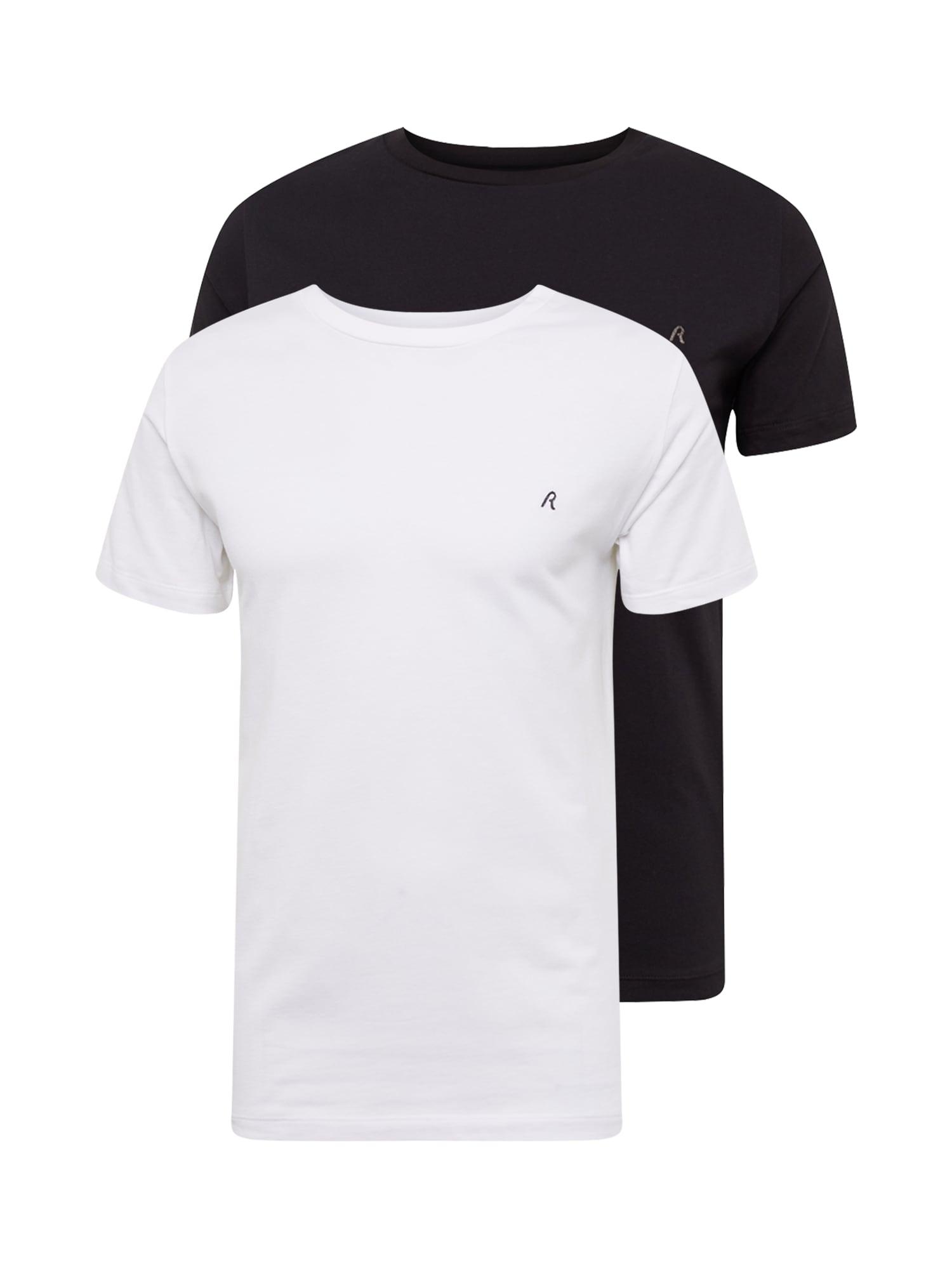 REPLAY Marškinėliai juoda / balta