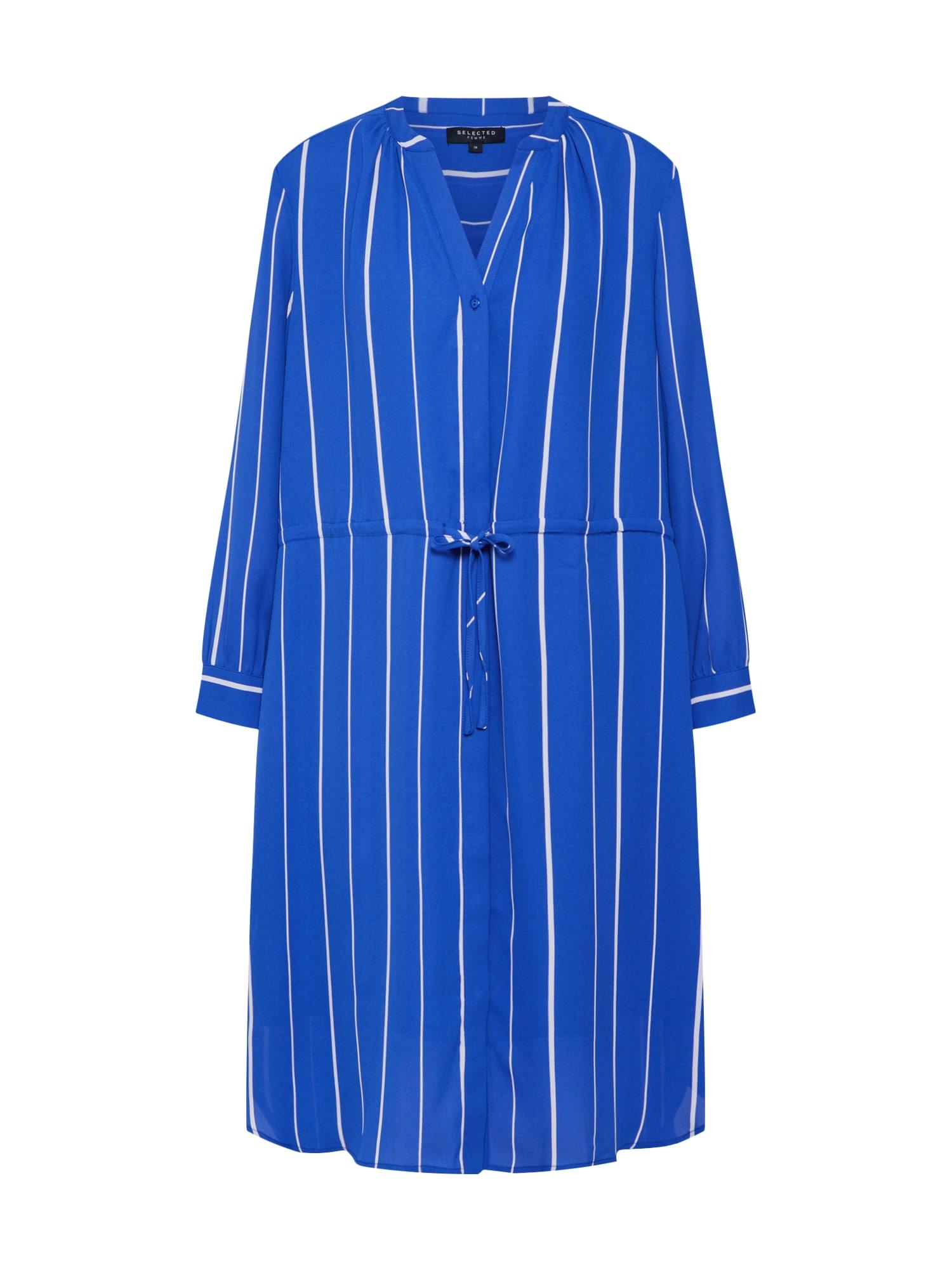 Košilové šaty DAMINA modrá bílá SELECTED FEMME