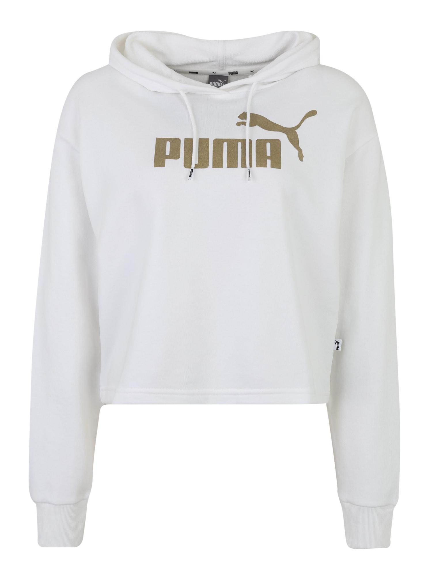 PUMA Sportinio tipo megztinis auksas / balta