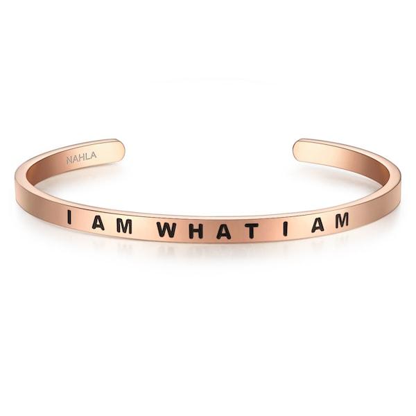 Armbaender für Frauen - Nahla Jewels Armband mit Schriftzug I AM WHAT I AM rosegold schwarz  - Onlineshop ABOUT YOU