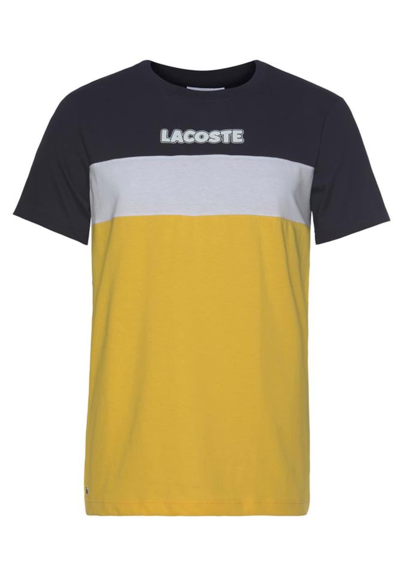 LACOSTE Marškinėliai geltona / balta / juoda