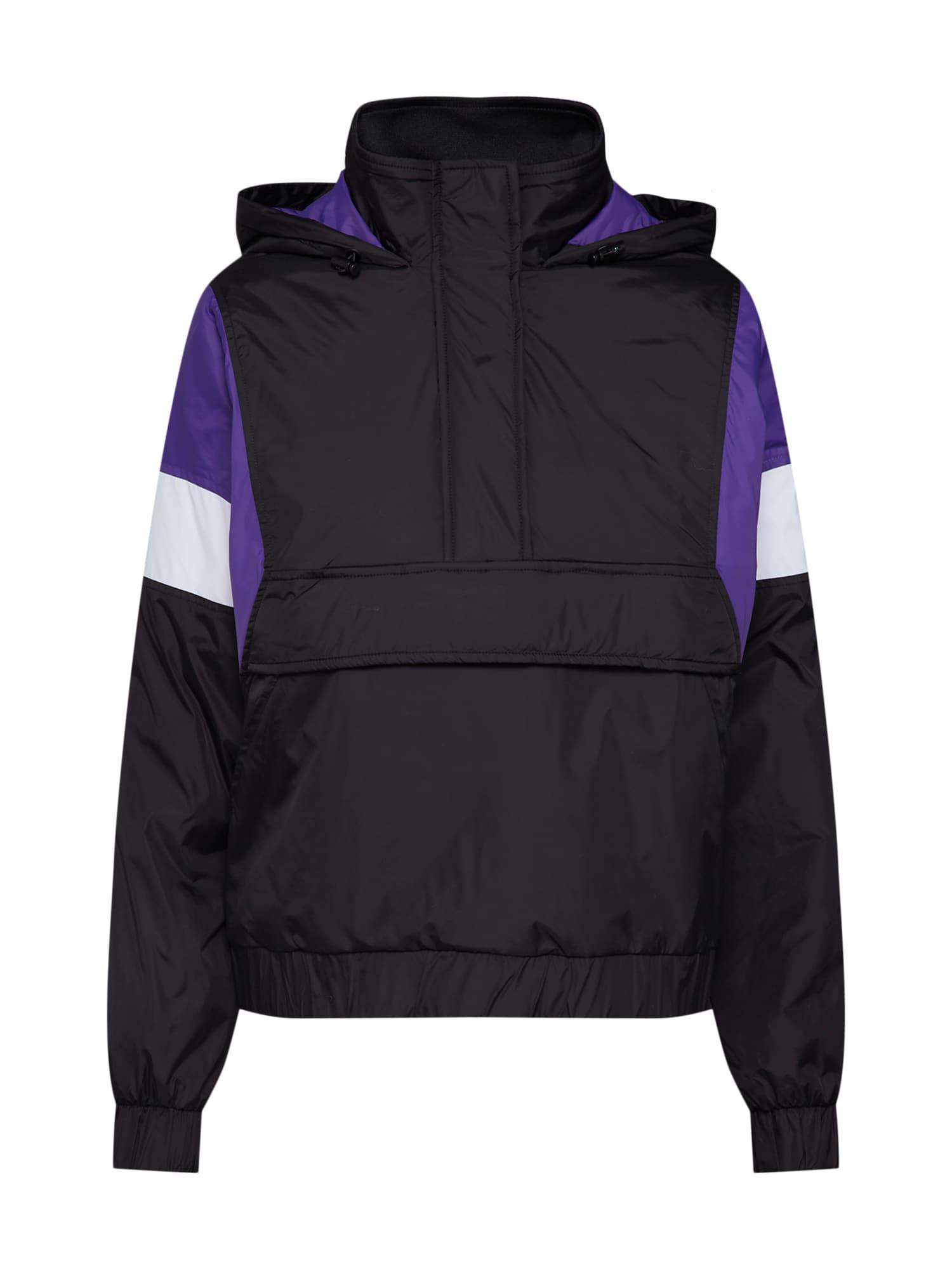 Přechodná bunda tmavě fialová černá bílá Urban Classics