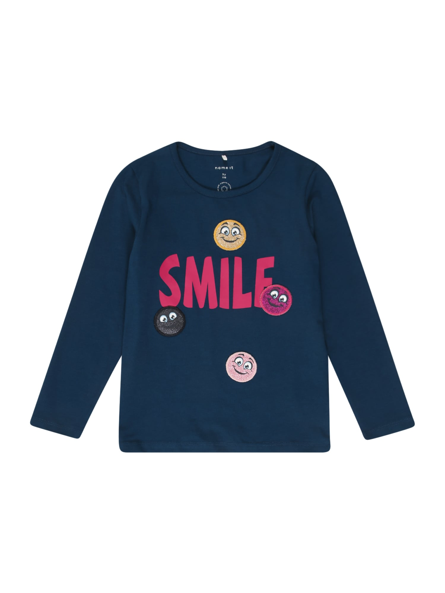 NAME IT Marškinėliai 'LINETTE' tamsiai mėlyna / rožinė / geltona / juoda