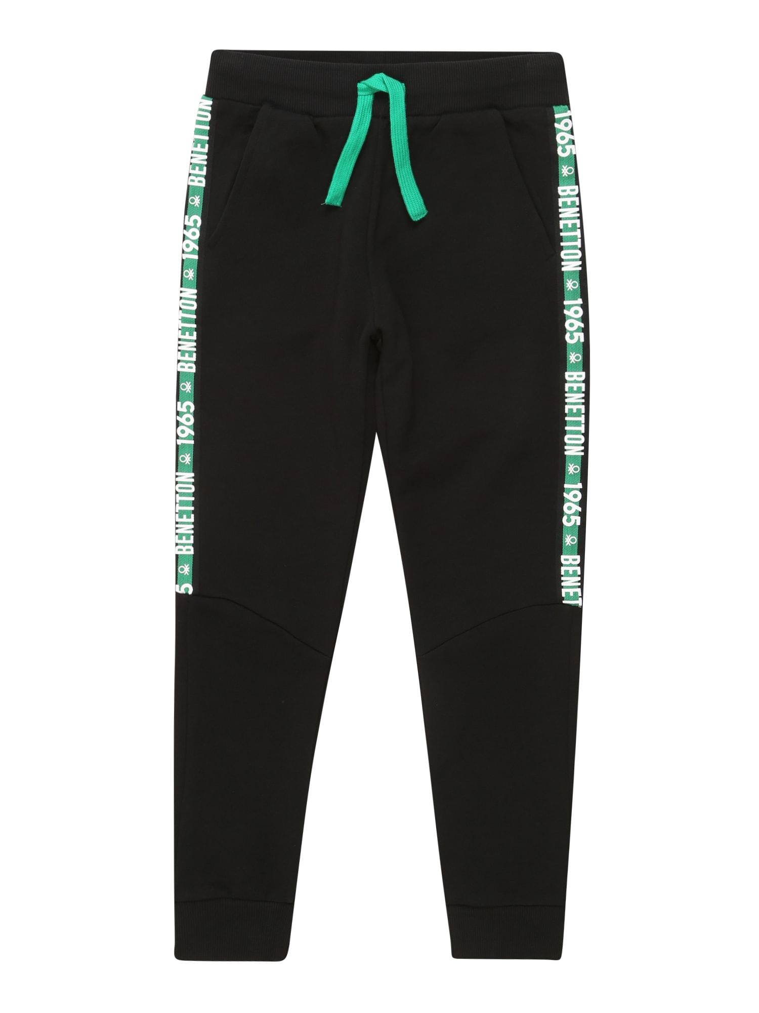 UNITED COLORS OF BENETTON Kalhoty  černá / bílá / světle zelená