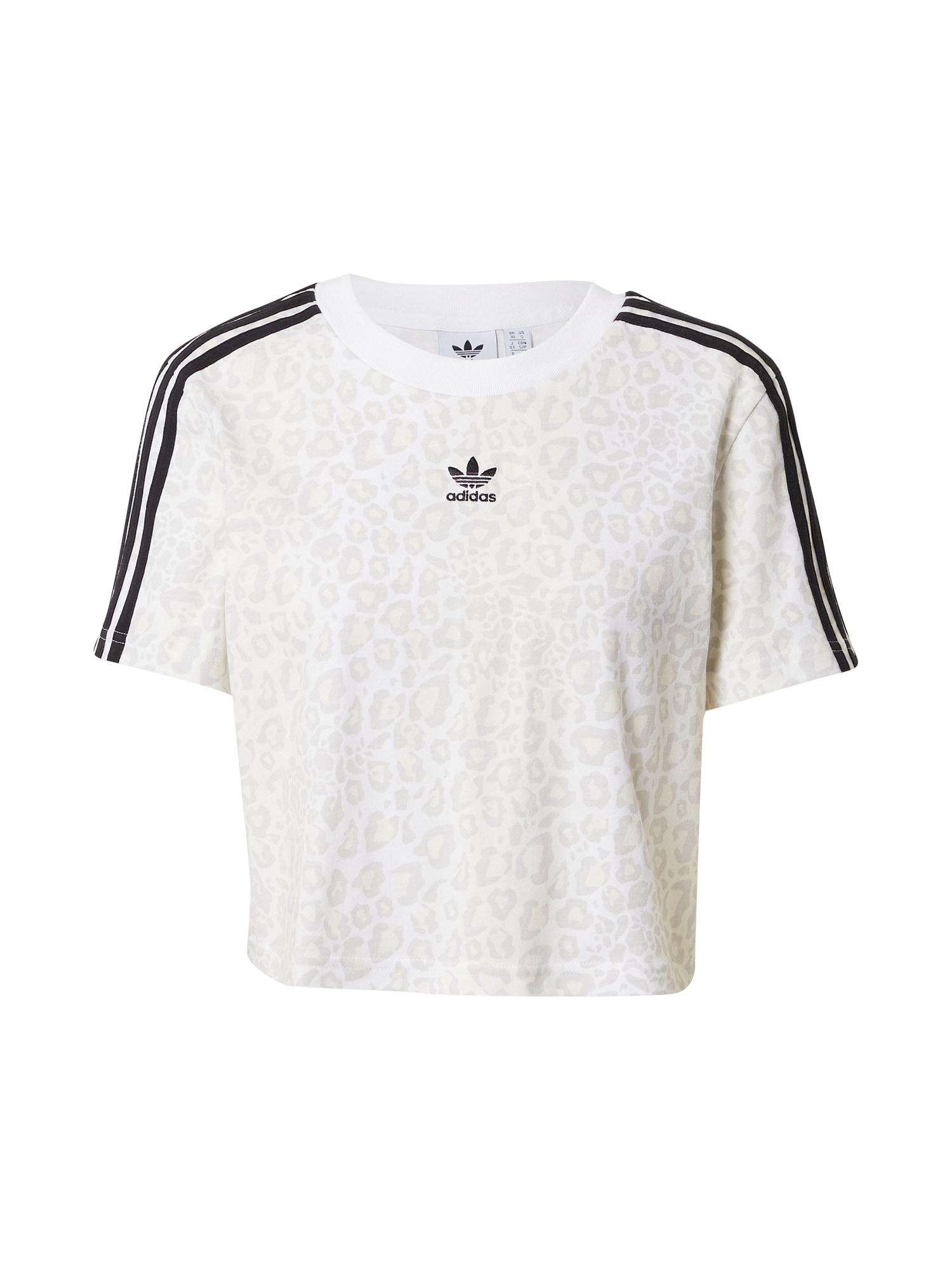 ADIDAS ORIGINALS Marškinėliai balta / juoda / šviesiai pilka / šviesiai ruda