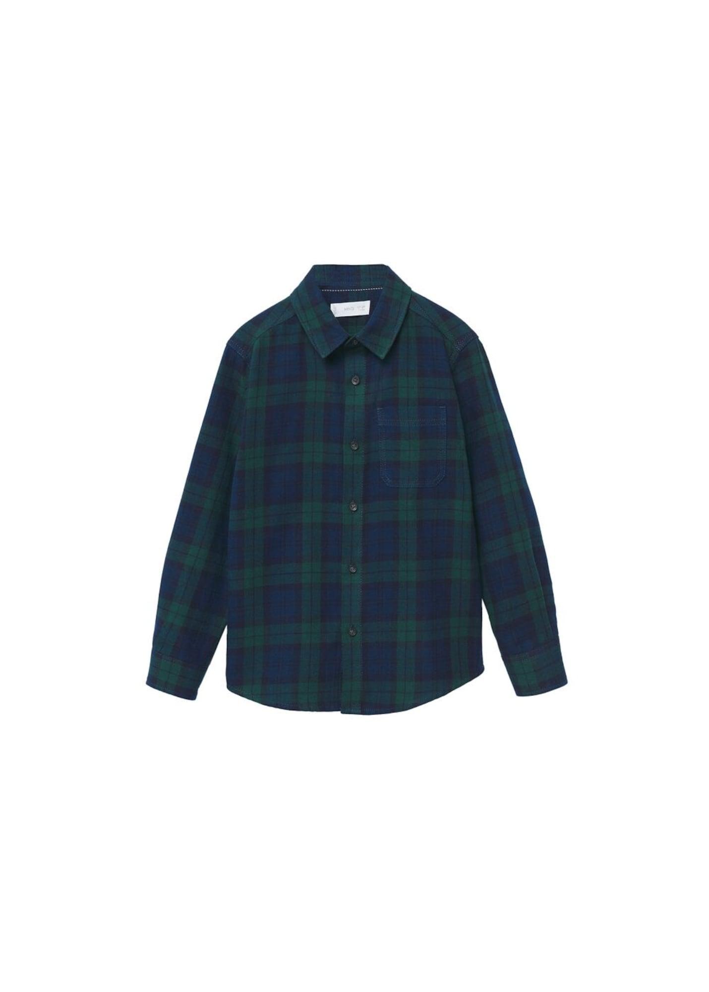 MANGO KIDS Košile 'Lenny'  tmavě zelená / modrá