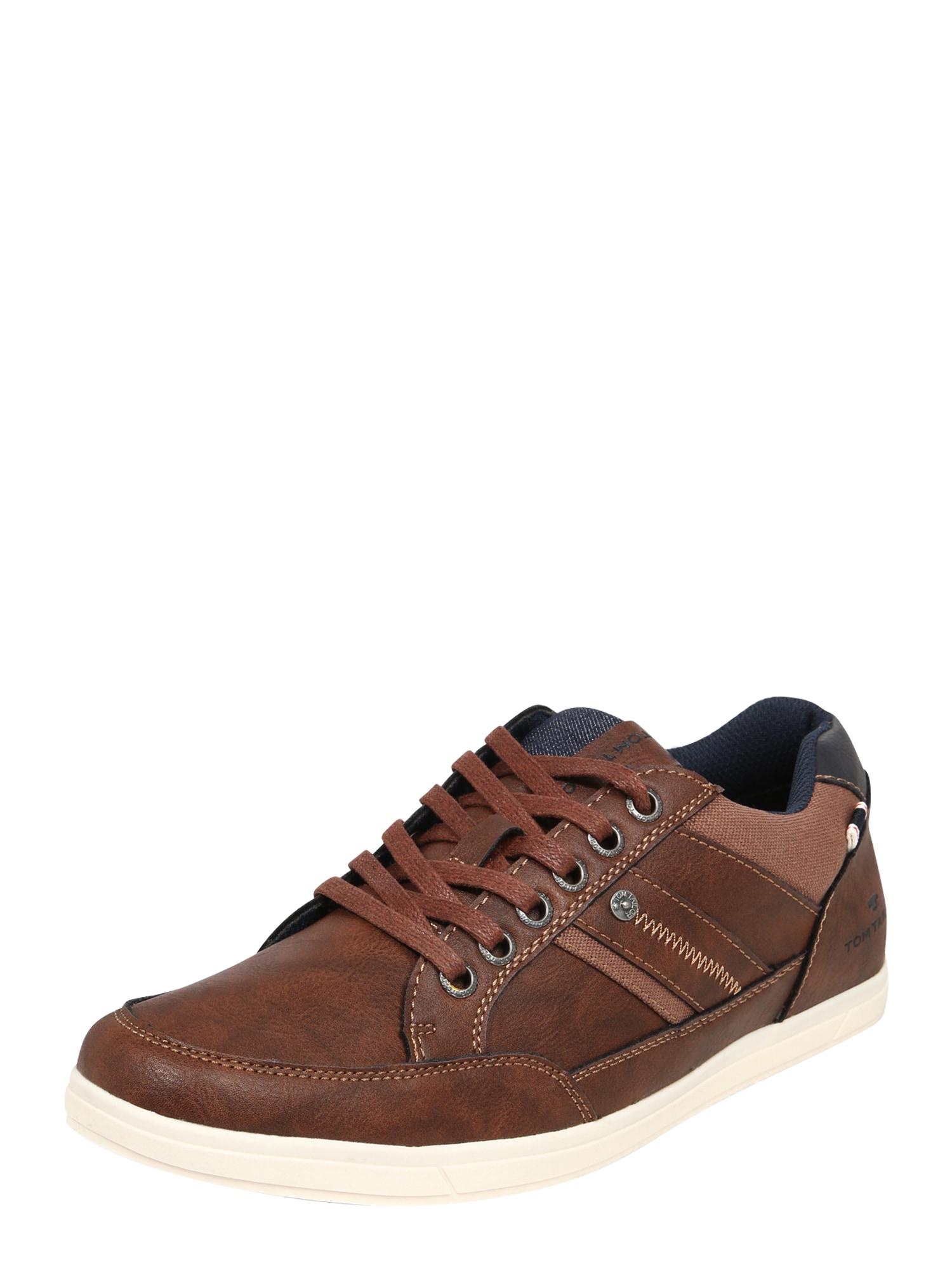 TOM TAILOR Sportinio stiliaus batai su raišteliais tamsiai mėlyna / ruda