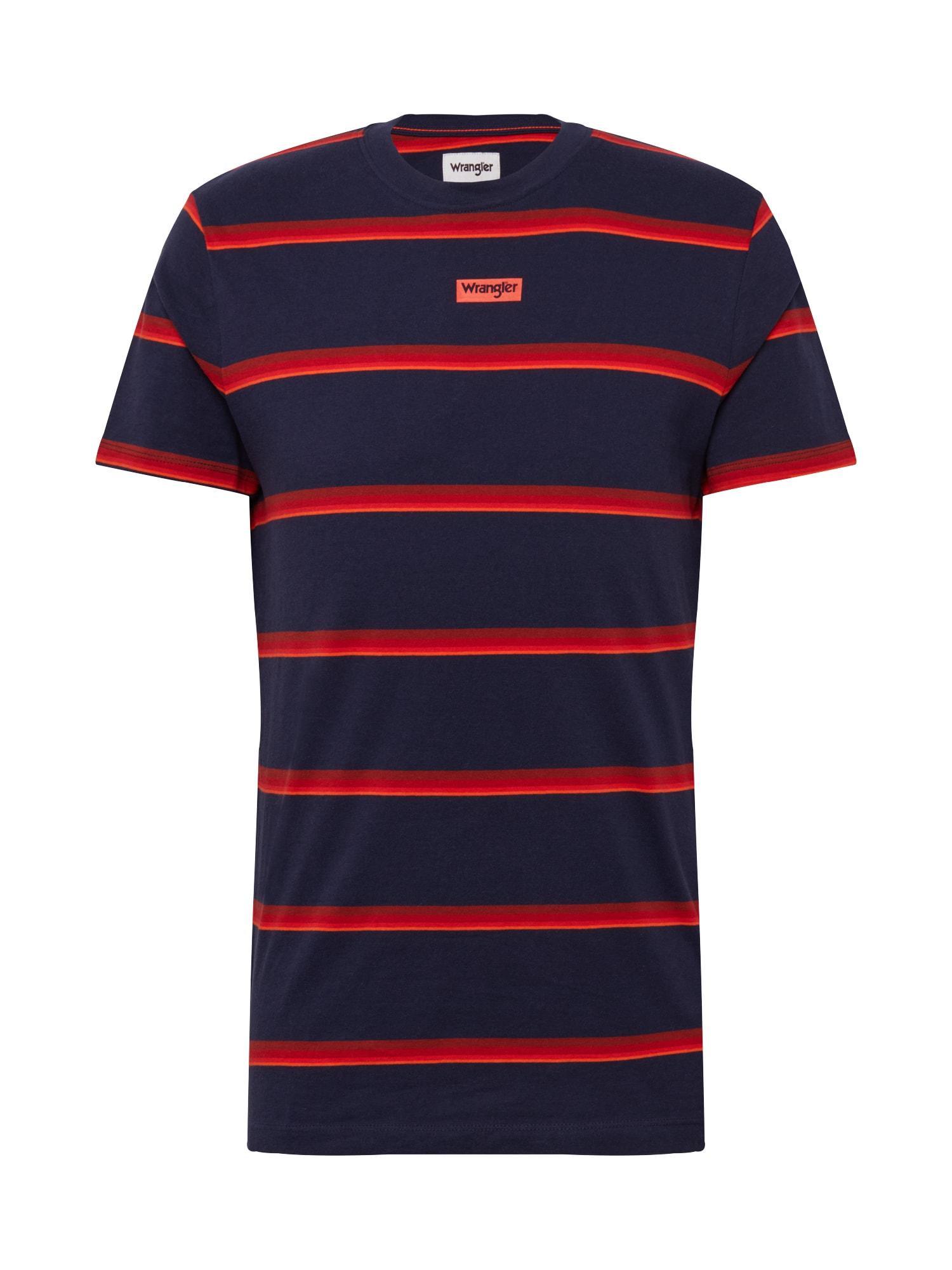 WRANGLER Tričko 'MOTEL'  námořnická modř / tmavě červená / oranžově červená / červená