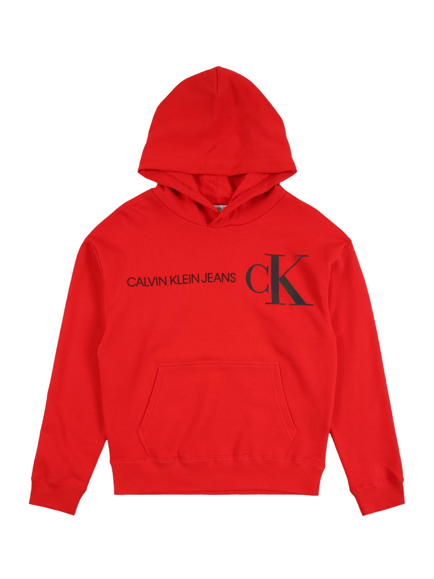 Calvin Klein Jeans Megztinis be užsegimo raudona / tamsiai mėlyna jūros spalva