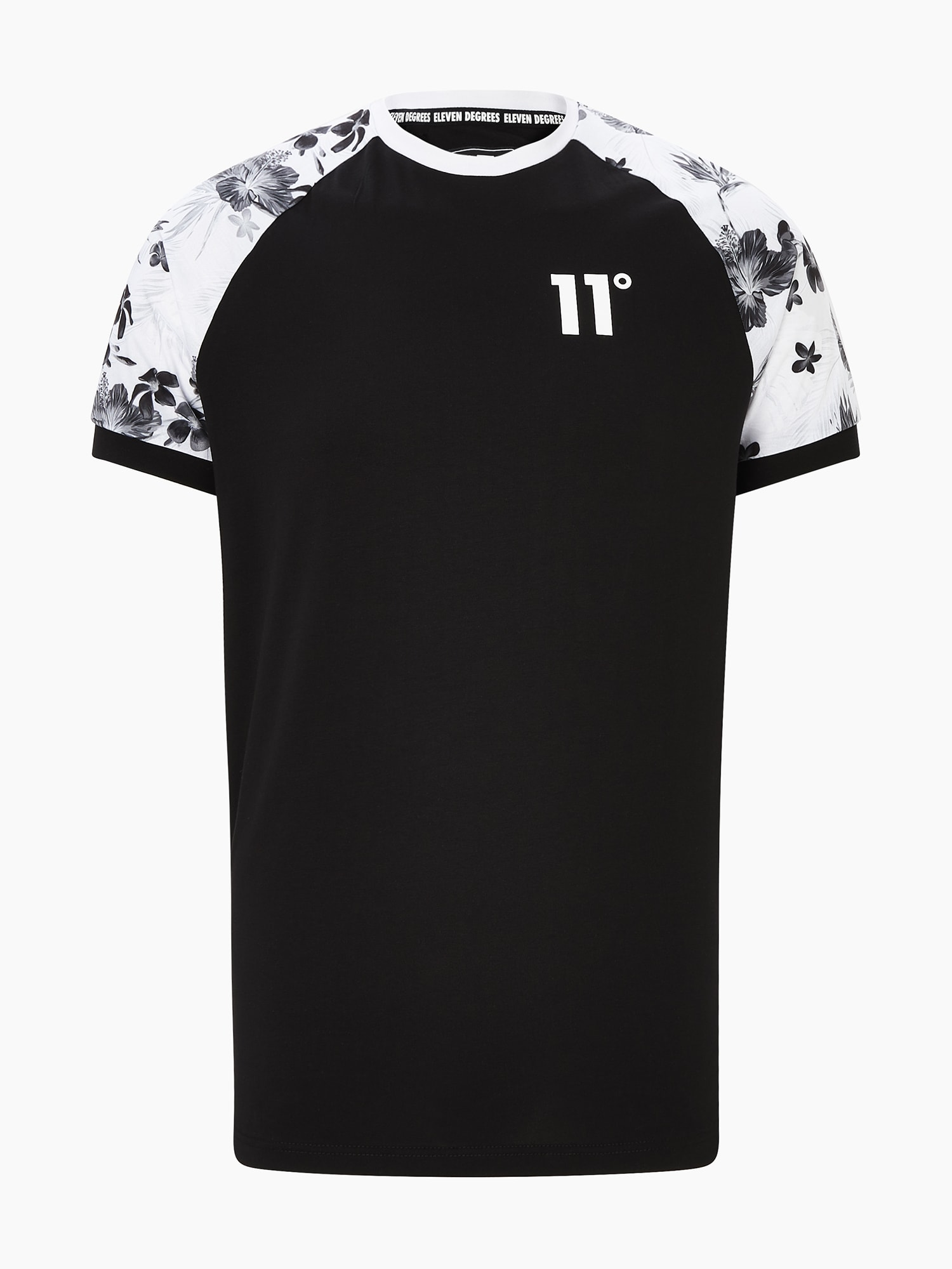 11 Degrees Marškinėliai 'FLORAL' balta / juoda