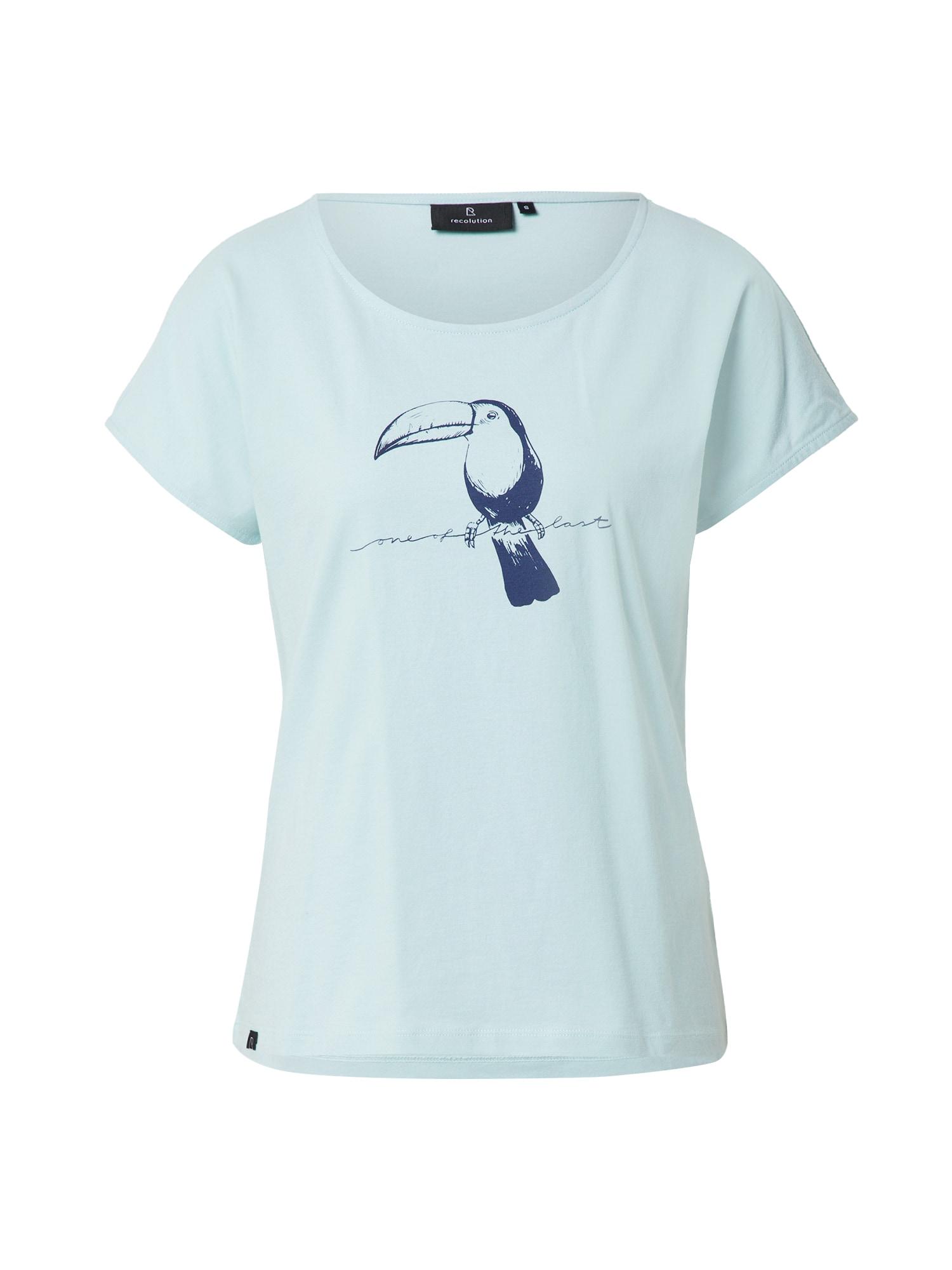 recolution Marškinėliai pastelinė žalia / tamsiai mėlyna