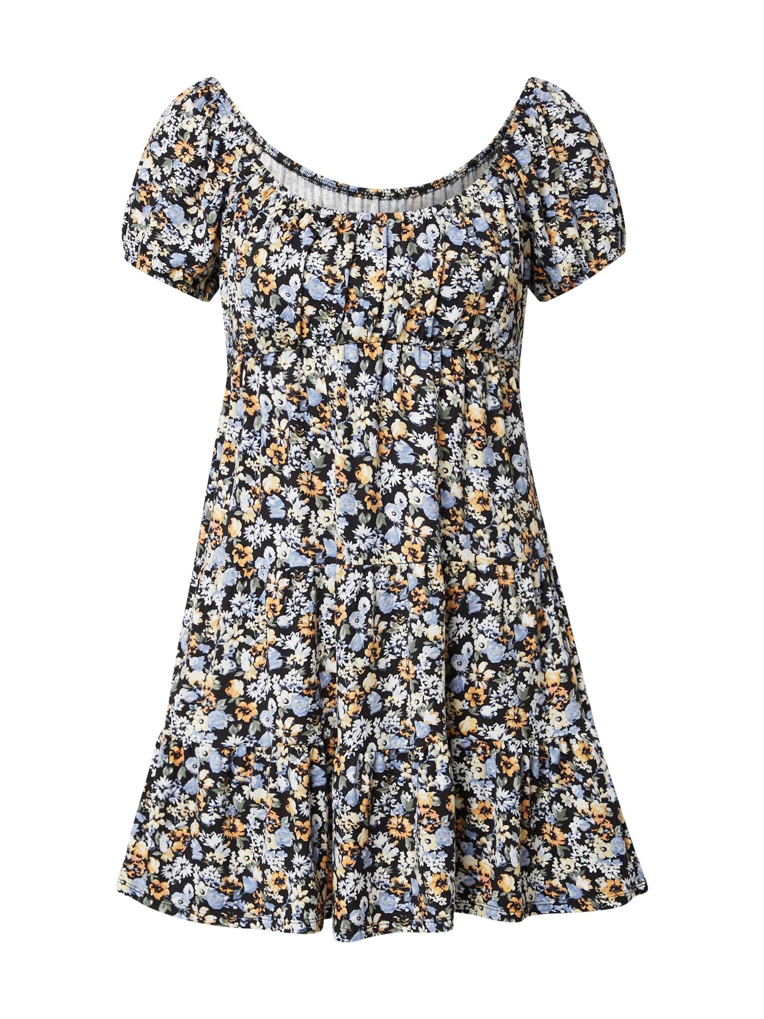 HOLLISTER Letní šaty  černá / světlemodrá / žlutá