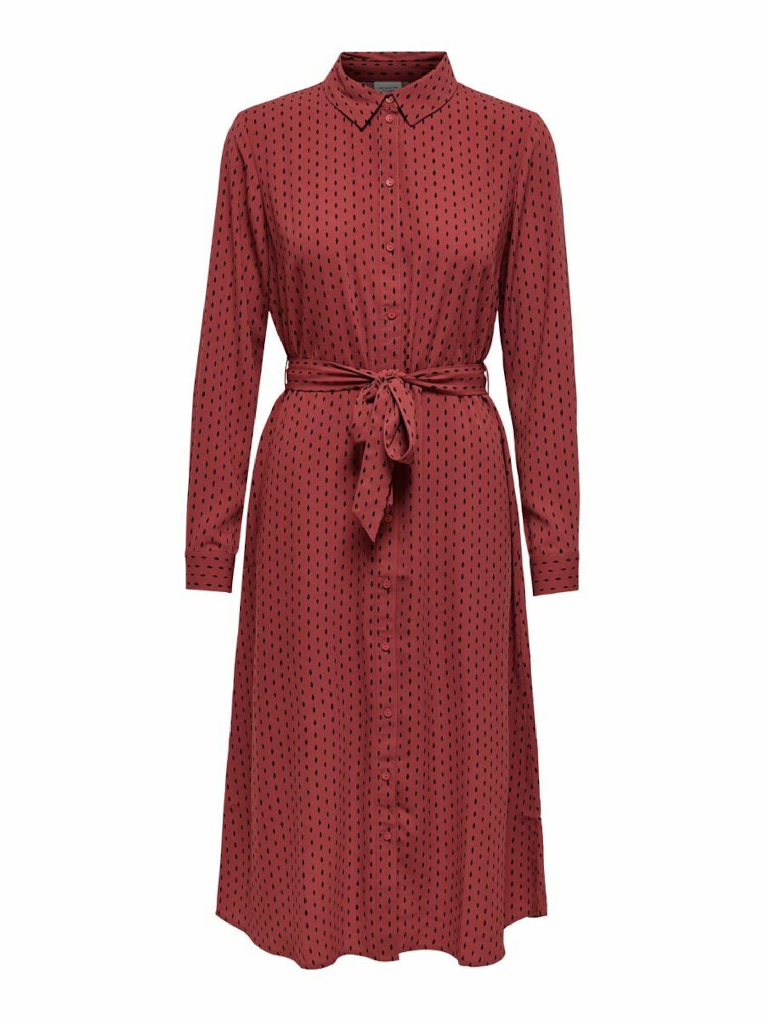JACQUELINE de YONG Palaidinės tipo suknelė rūdžių raudona / juoda