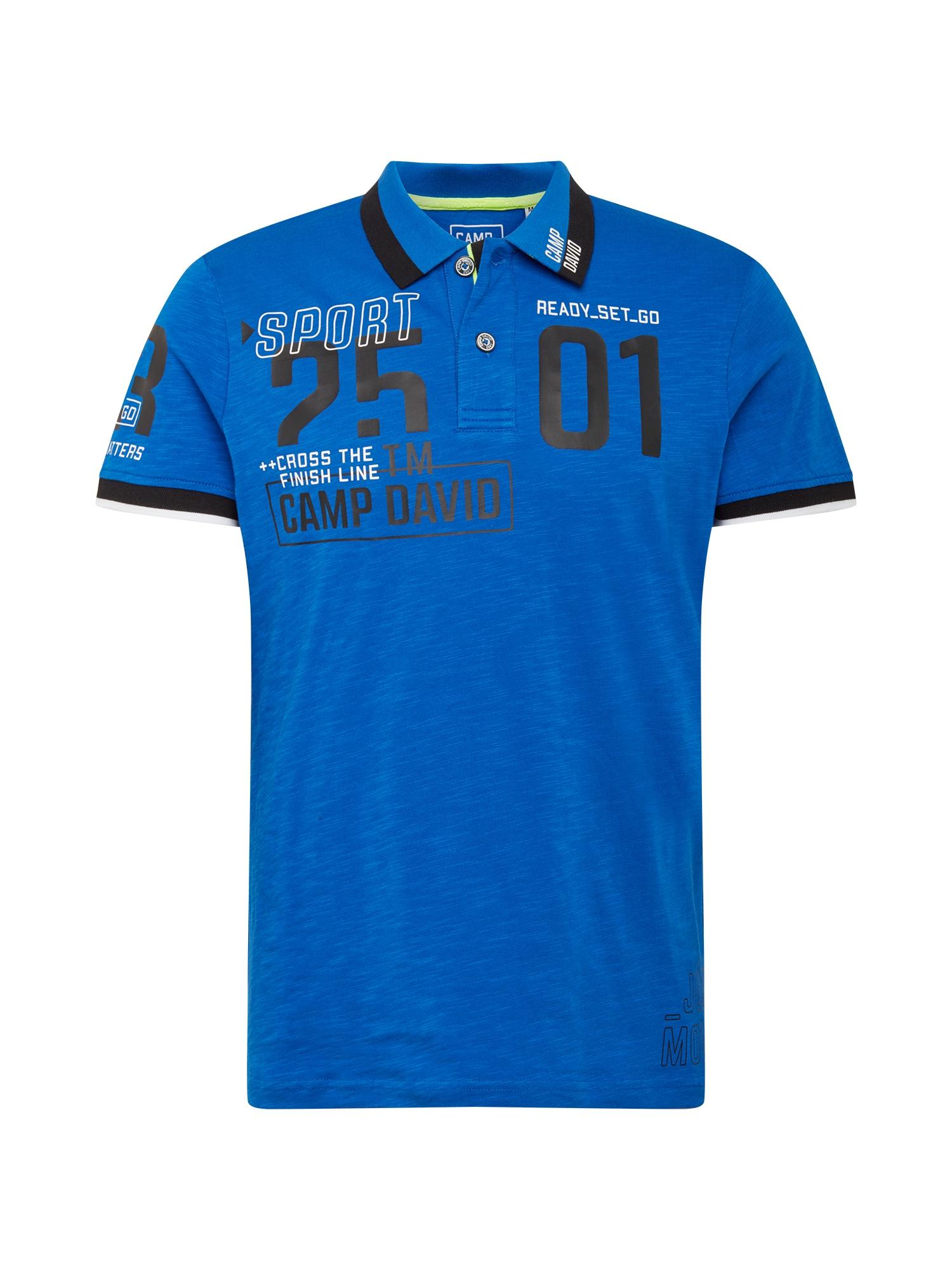 "CAMP DAVID Marškinėliai balta / juoda / sodri mėlyna (""karališka"")"