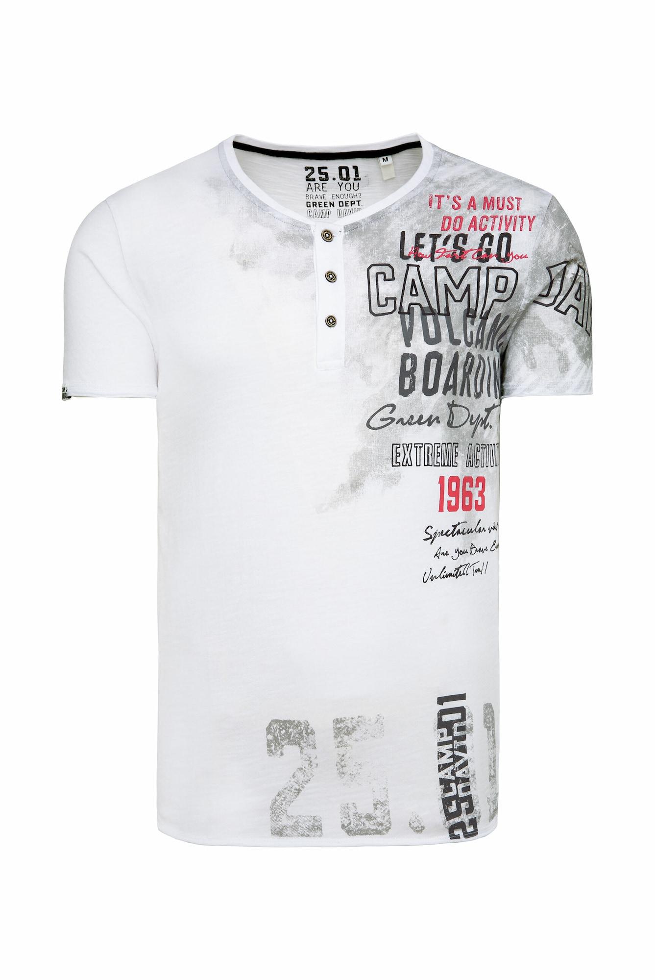 CAMP DAVID Marškinėliai balta / pilka / raudona