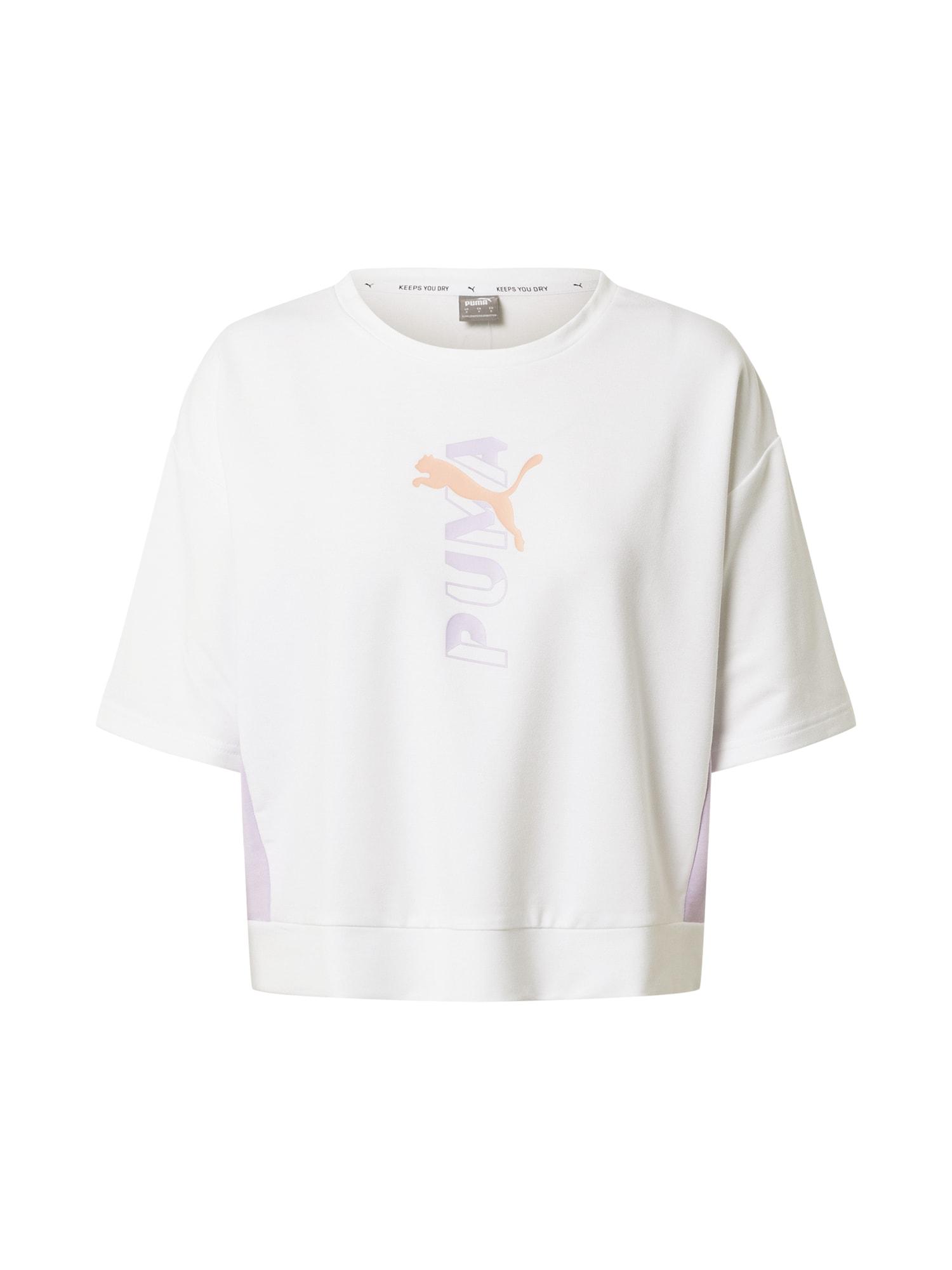 PUMA Sportiniai marškinėliai balta / pilka / šviesiai rožinė