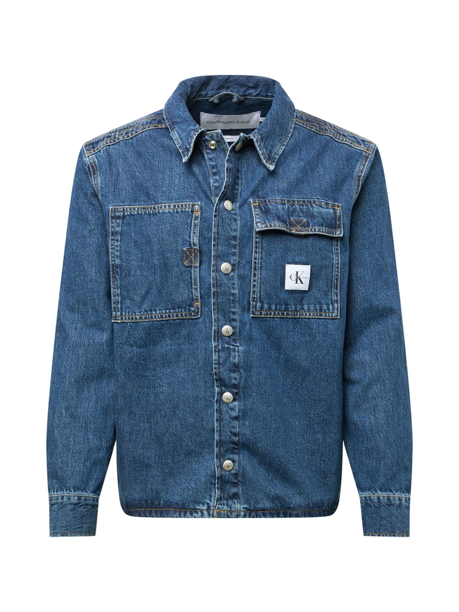 Calvin Klein Jeans Demisezoninė striukė tamsiai (džinso) mėlyna / balta