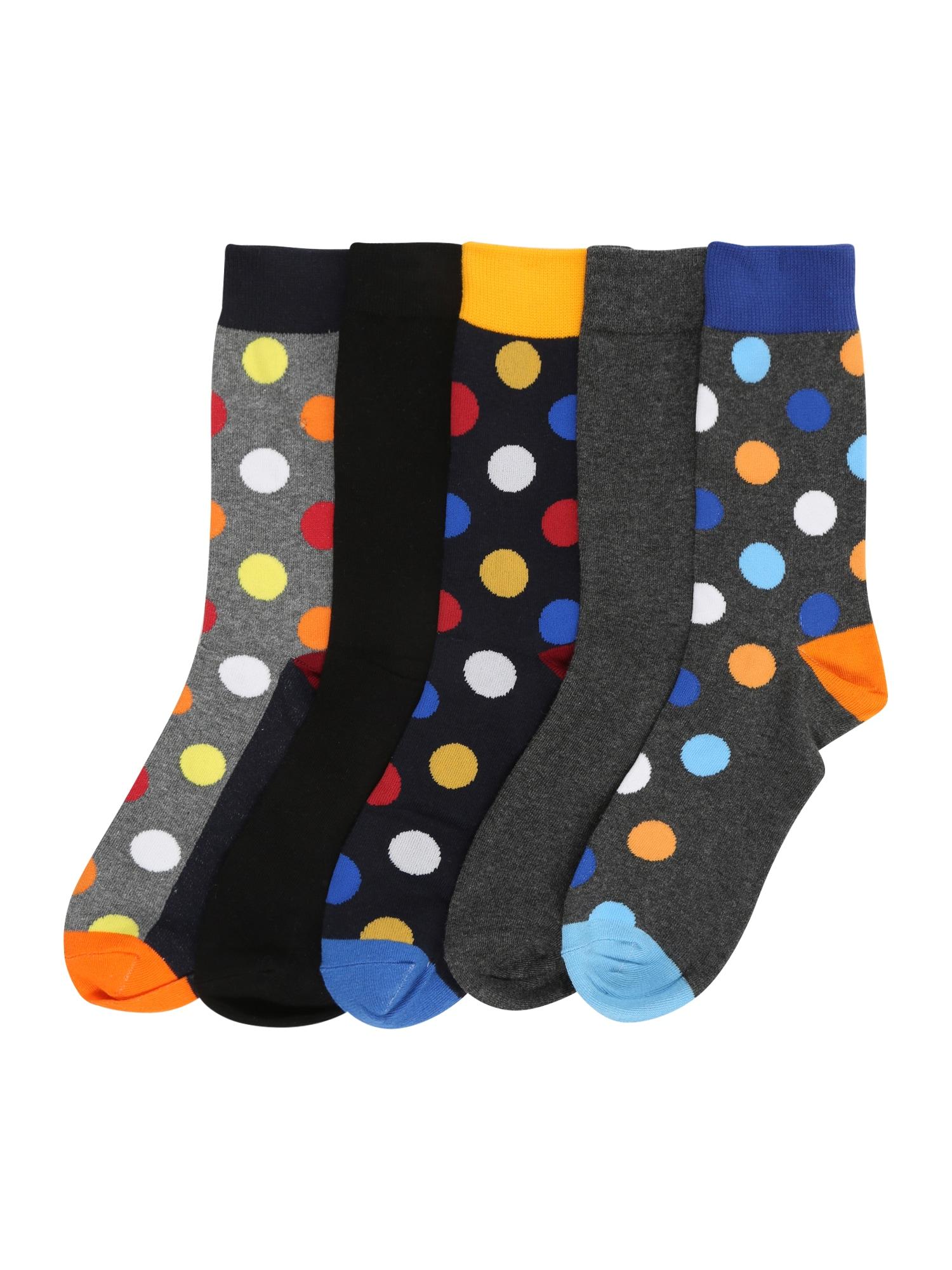 JACK & JONES Ponožky 'HAPPY DOTS'  černá / šedá / žlutá / modrá