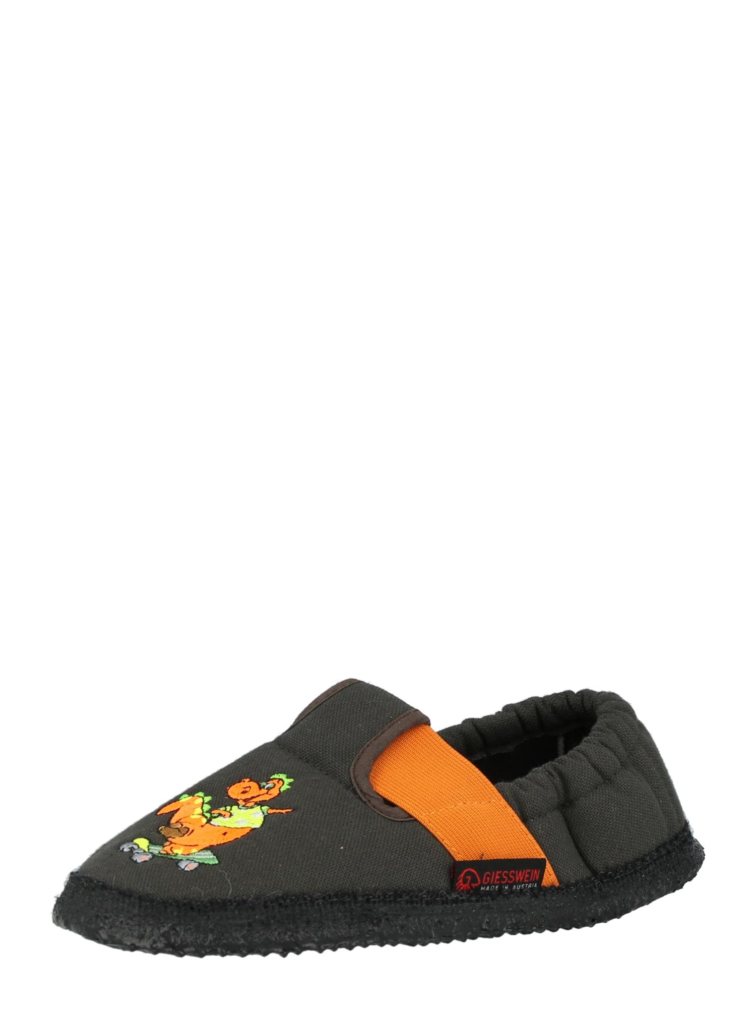 GIESSWEIN Pantofle 'Aldingen'  antracitová / oranžová / světle zelená