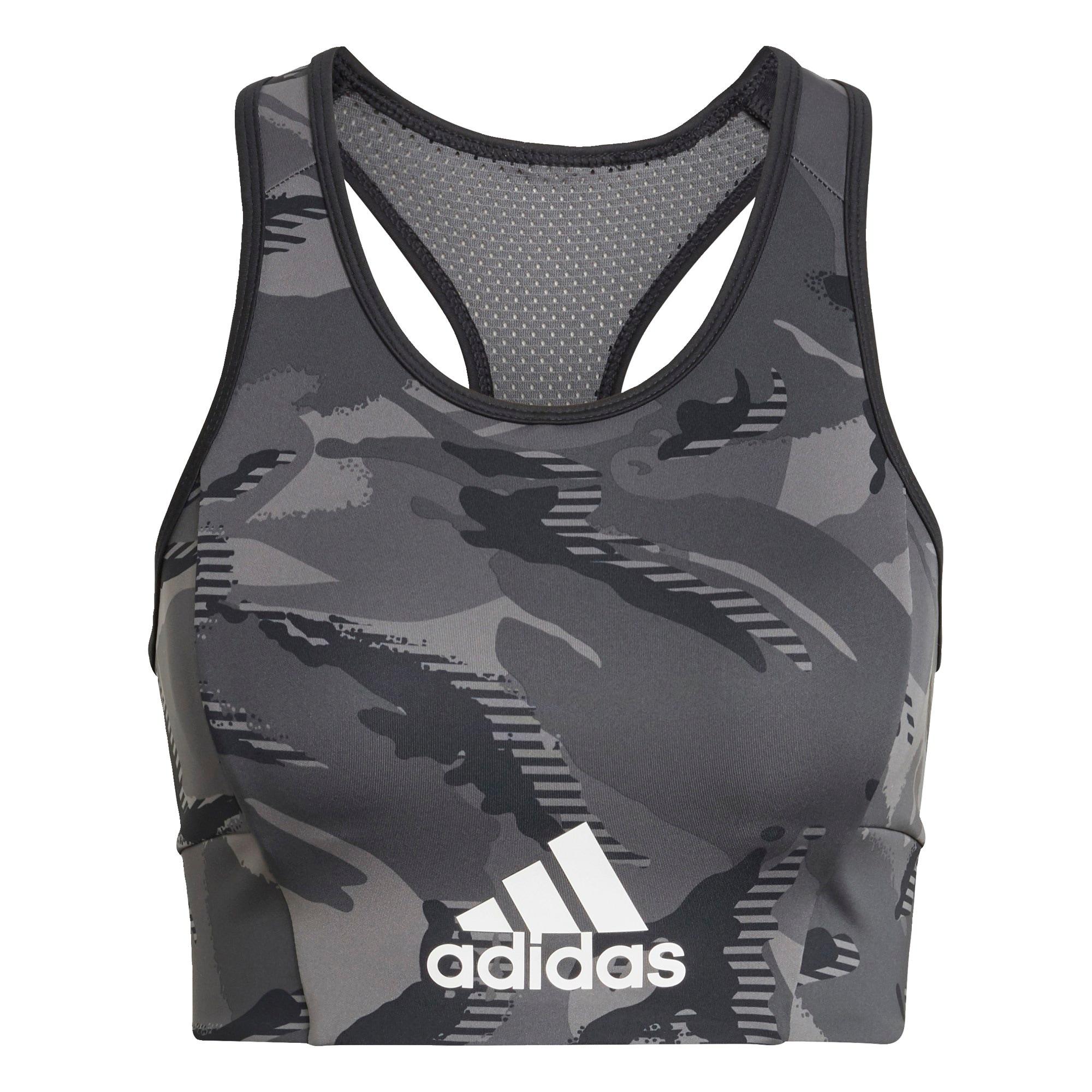 ADIDAS PERFORMANCE Sportinė liemenėlė juoda / tamsiai pilka / pilka / balta