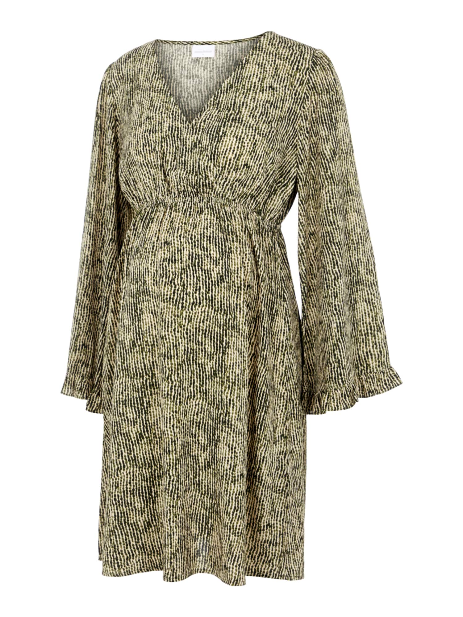 MAMALICIOUS Suknelė 'MLMAYRA' smėlio / alyvuogių spalva / tamsiai žalia