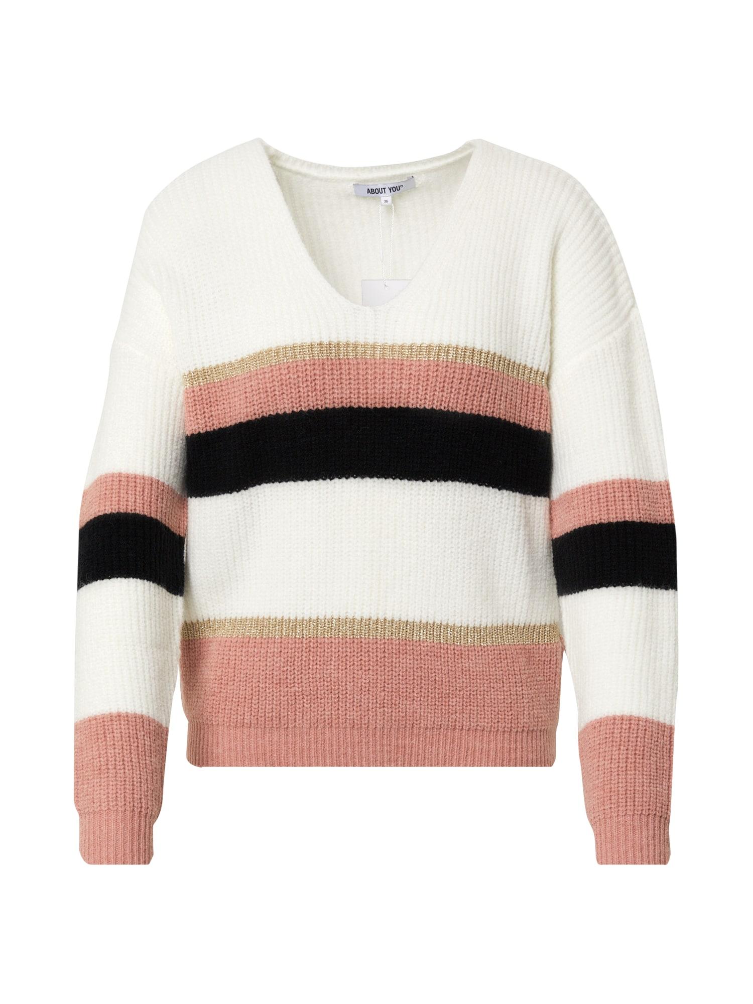 ABOUT YOU Megztinis 'Leona Jumper' kremo / rožių spalva / juoda / auksas