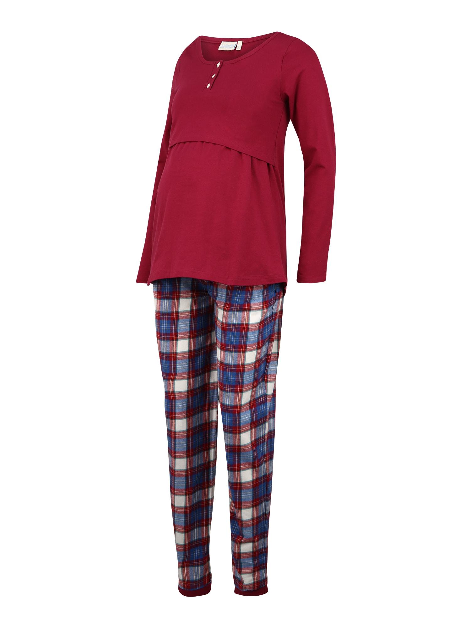 JoJo Maman Bébé Pižama mėlyna / balta / skaisti avietinė ar rubino spalva
