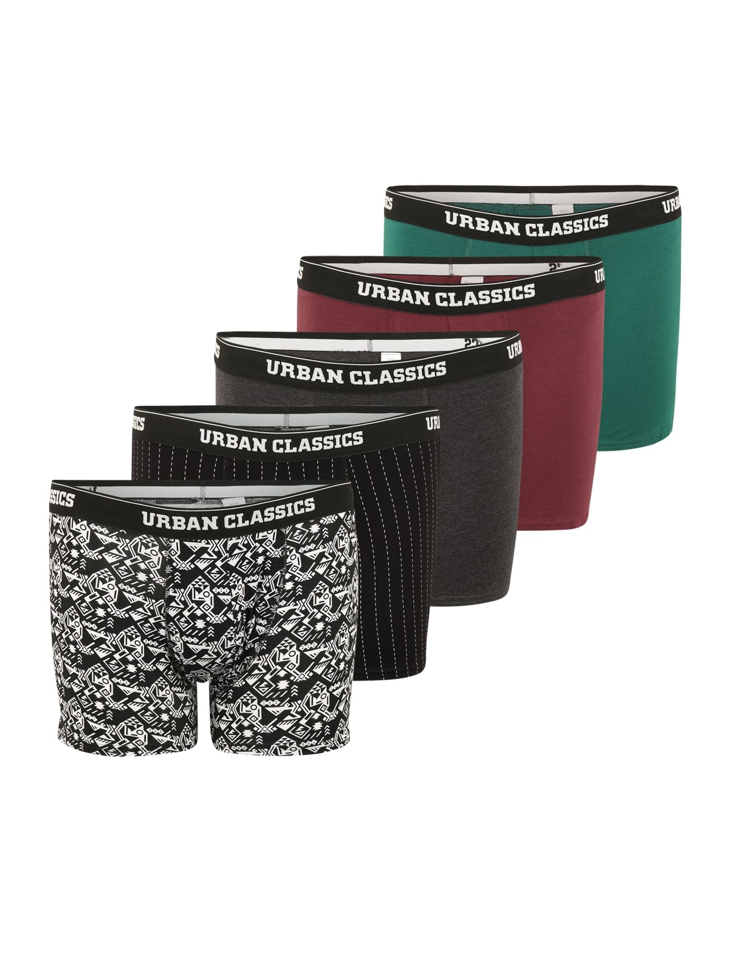 Urban Classics Plus Size Boxer trumpikės juoda / raudona / žalia / balta