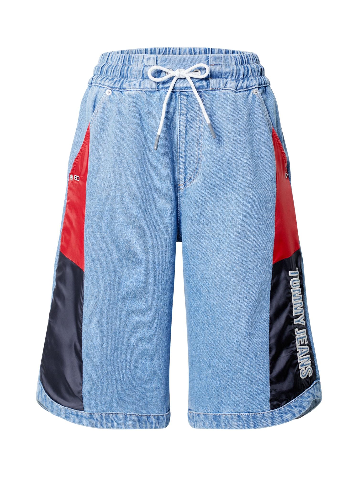Tommy Jeans Džinsai šviesiai mėlyna / raudona / tamsiai mėlyna / vyno raudona spalva