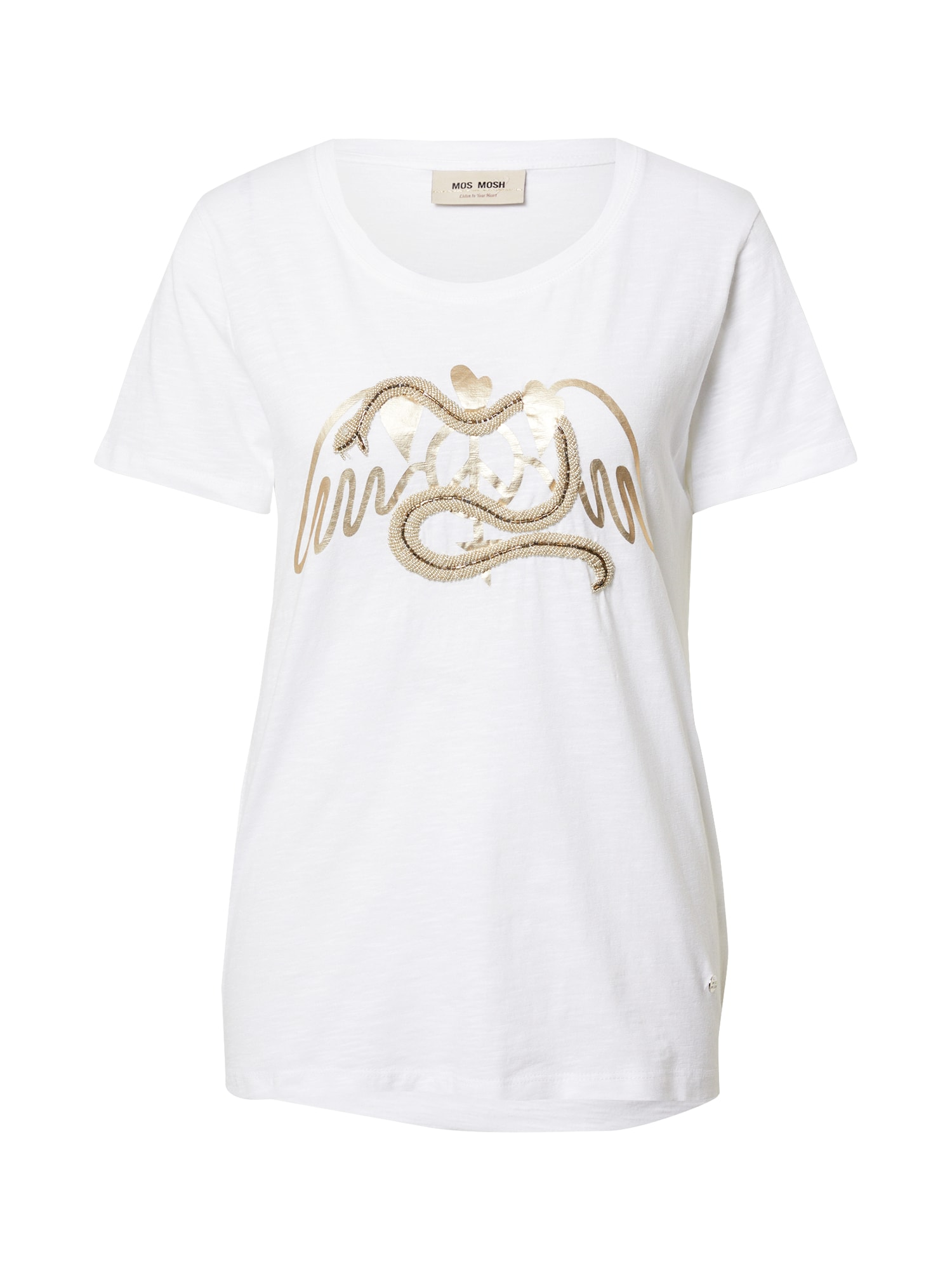 MOS MOSH Marškinėliai balta / aukso geltonumo spalva