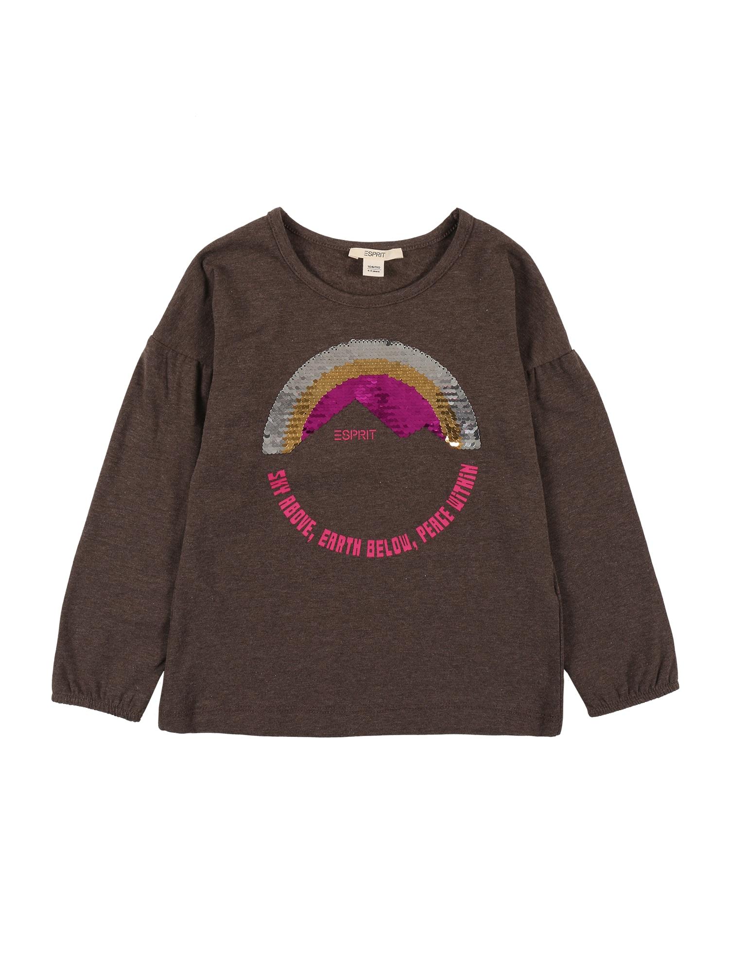 ESPRIT Marškinėliai ruda / sidabrinė / auksas / fuksijų spalva