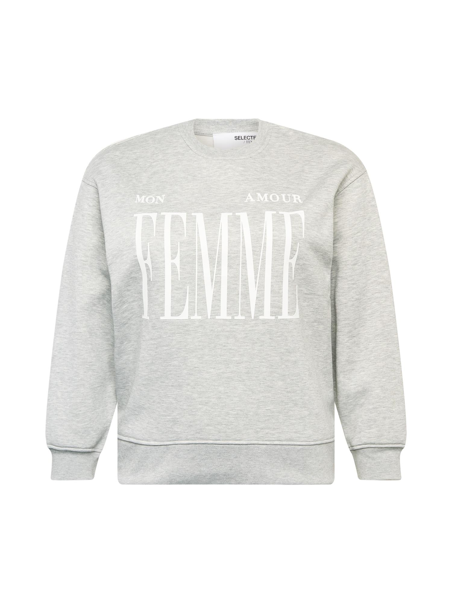 Selected Femme Curve Megztinis be užsegimo margai pilka / balta