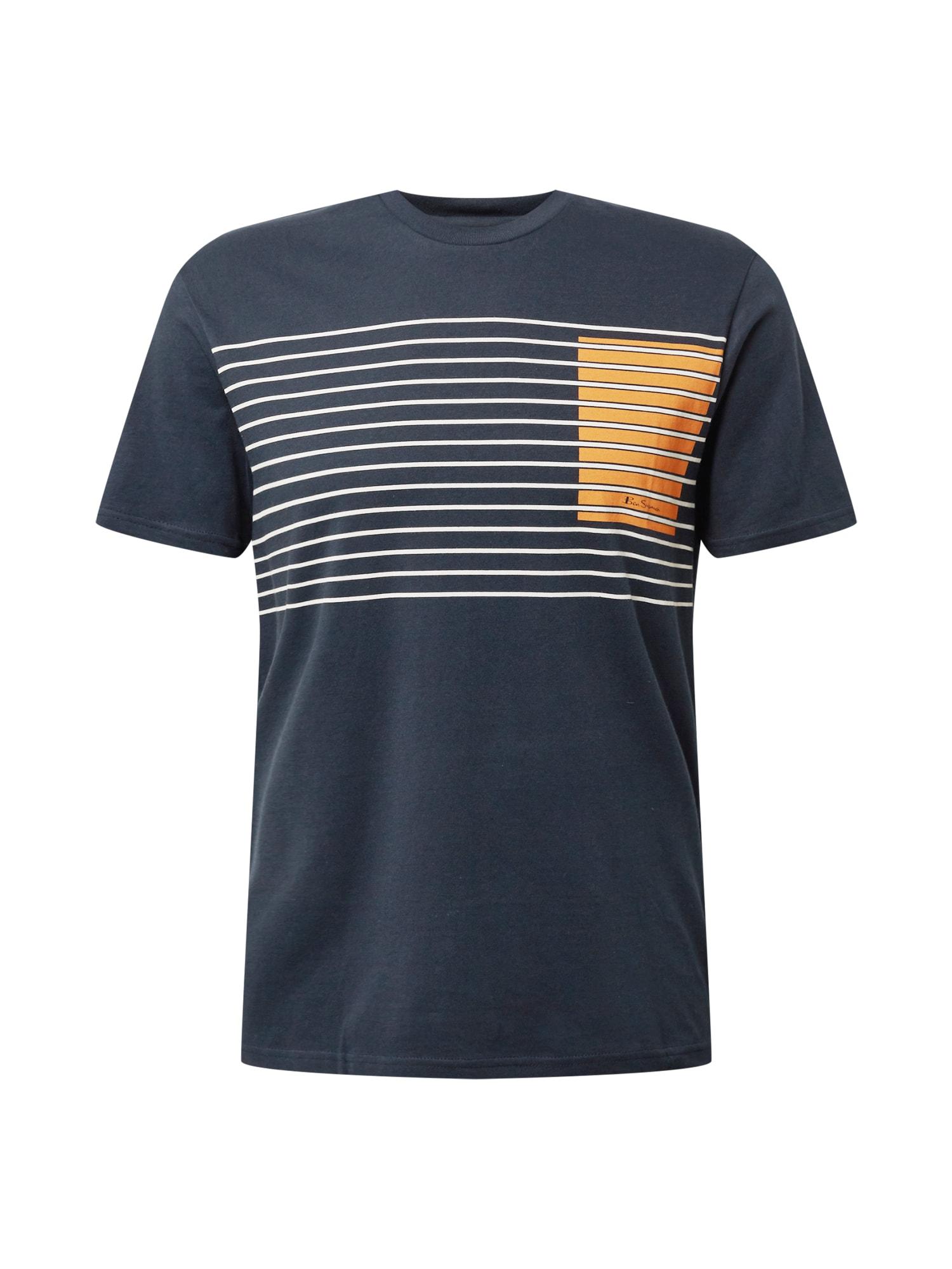 Ben Sherman Marškinėliai tamsiai mėlyna / balta / tamsiai geltona