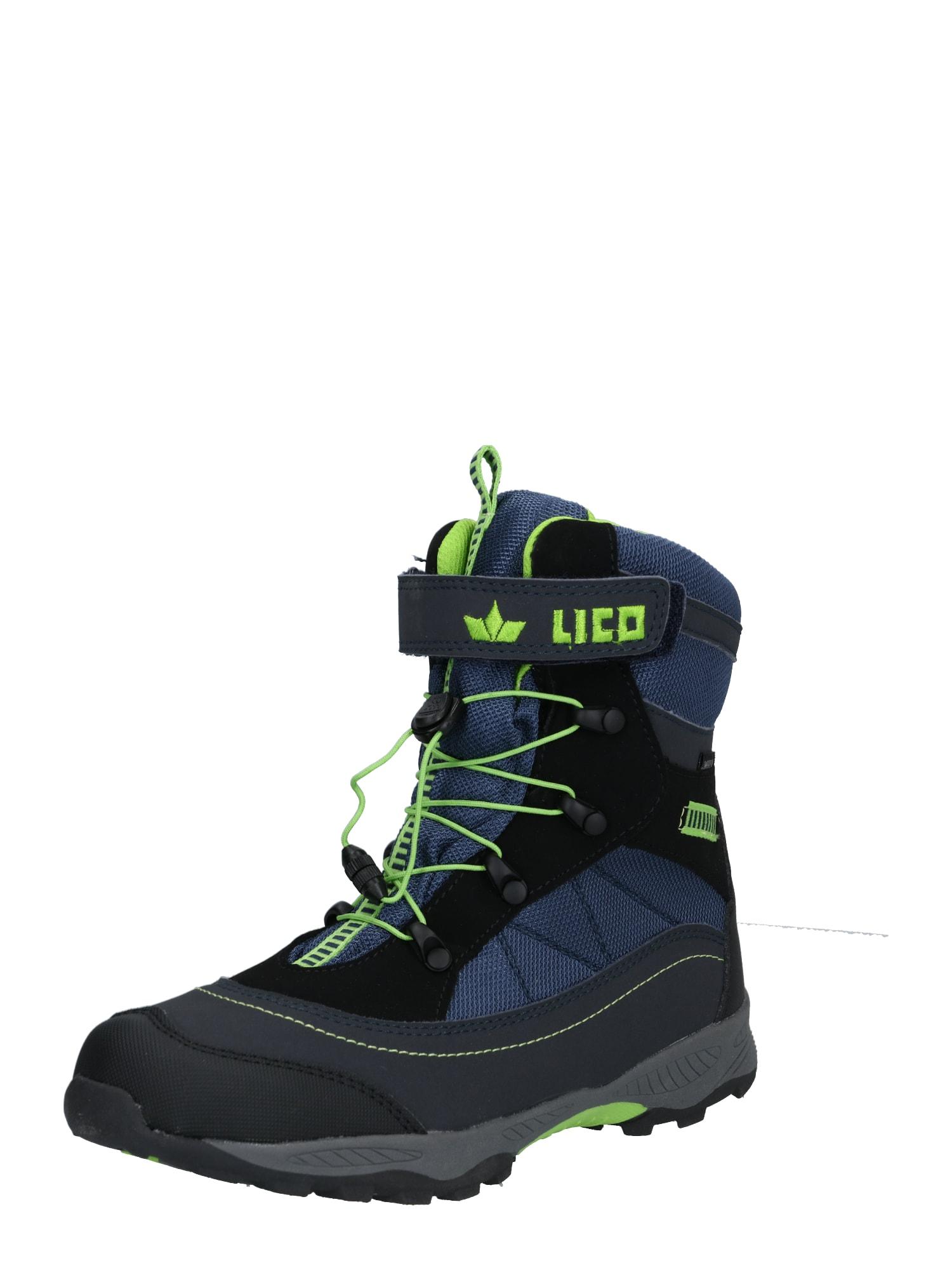 LICO Sniego batai 'Sundsvall VS' žaliosios citrinos spalva / tamsiai mėlyna jūros spalva / juoda