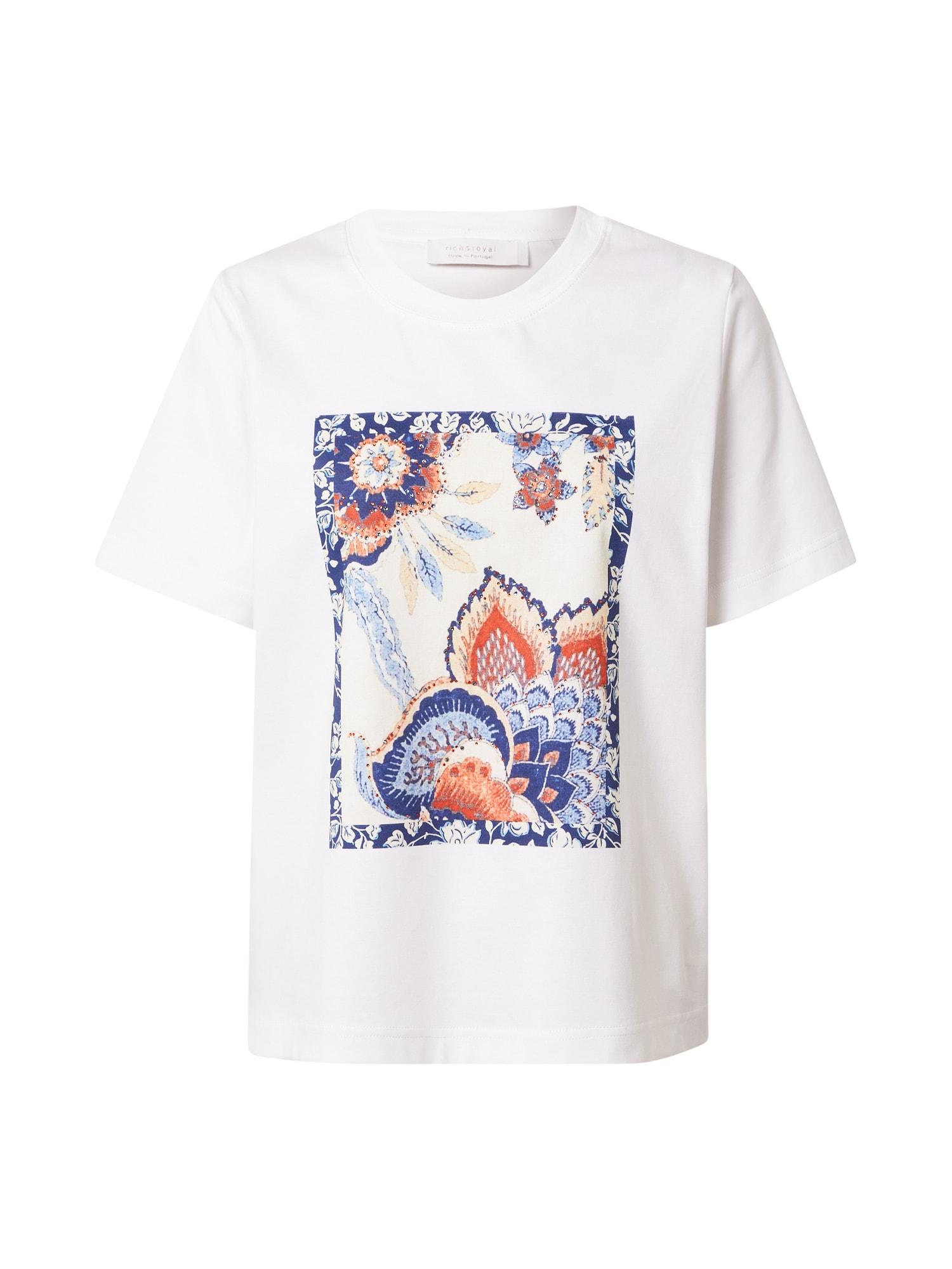 Rich & Royal Marškinėliai balta / šviesiai mėlyna / tamsiai mėlyna jūros spalva / kremo / ugnies raudona
