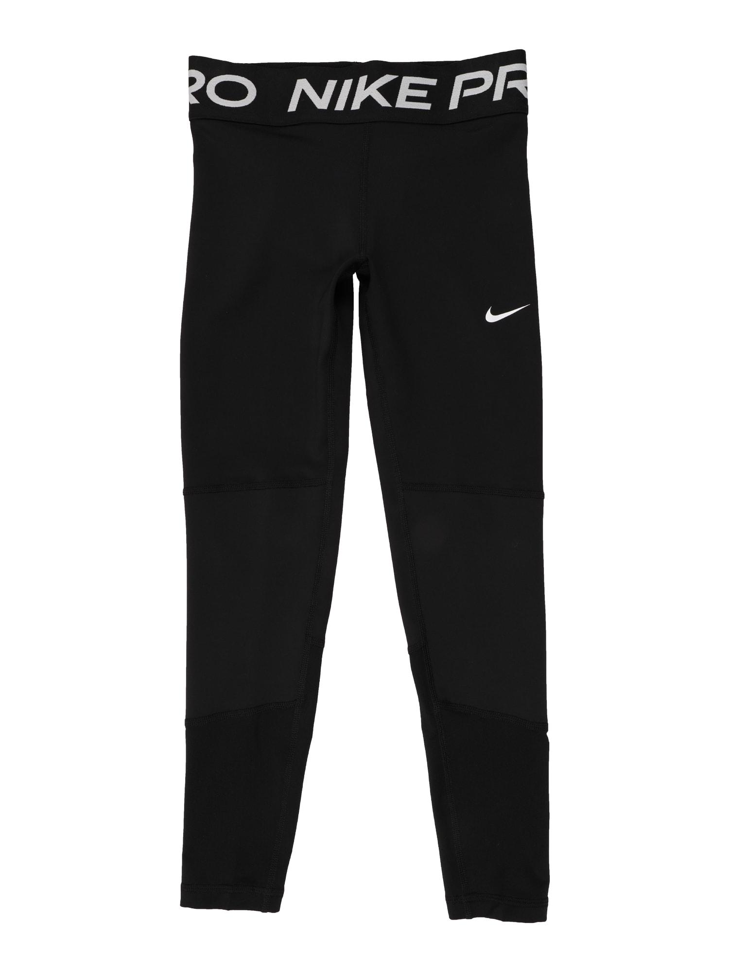 NIKE Sportinės kelnės juoda / balta / šviesiai pilka