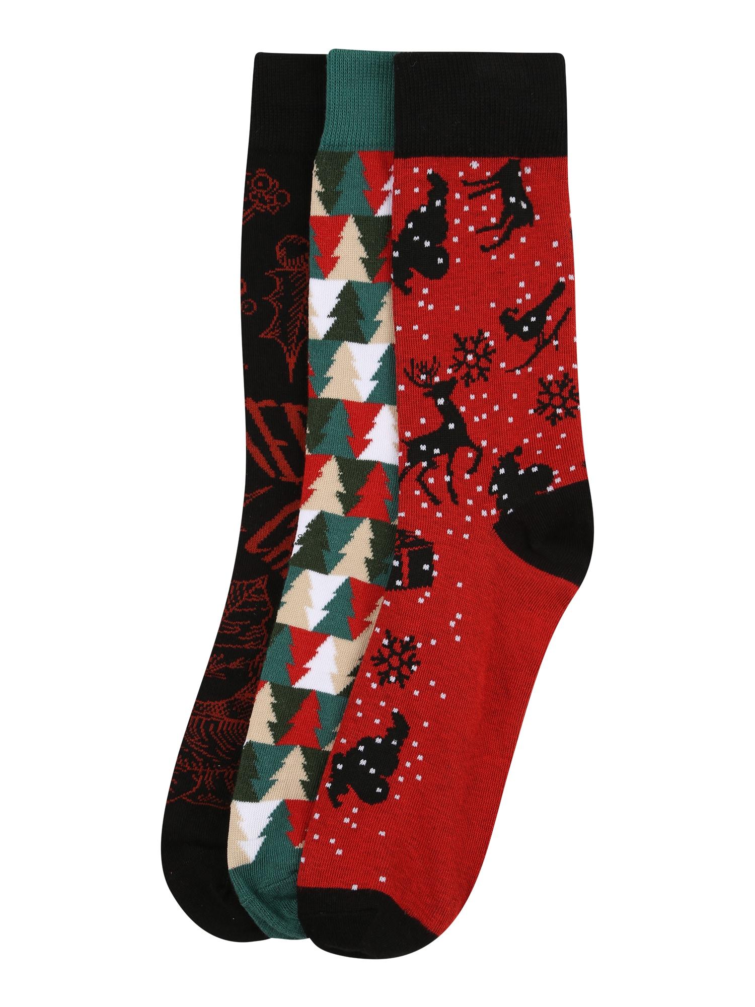 JACK & JONES Ponožky 'TREE'  červená / zelená / černá / bílá