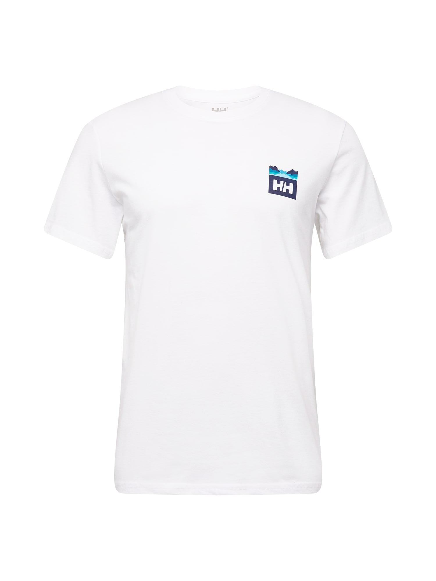 HELLY HANSEN Sportiniai marškinėliai balta / nakties mėlyna / turkio spalva
