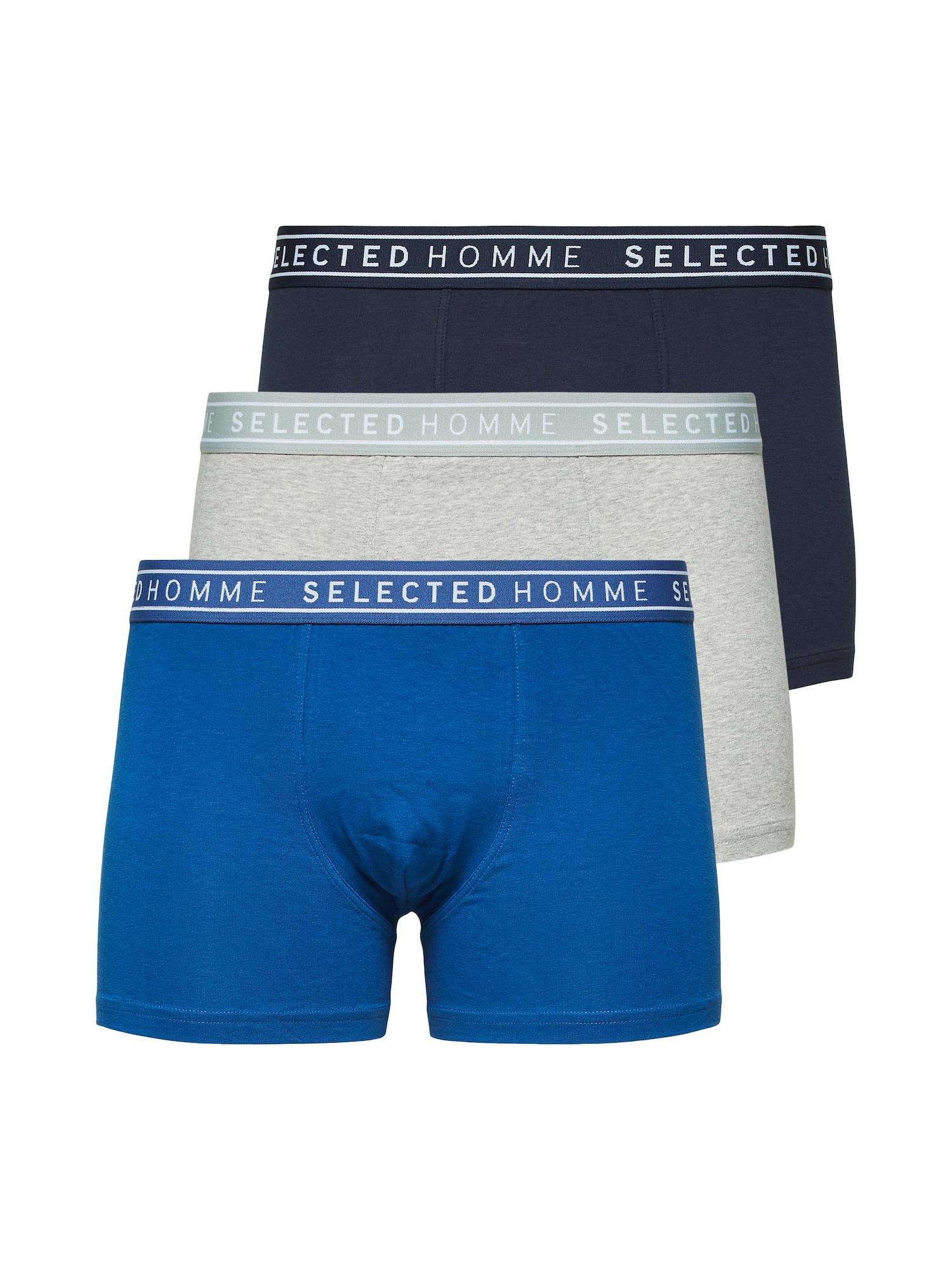 SELECTED HOMME Boxer trumpikės dangaus žydra / margai pilka / tamsiai mėlyna jūros spalva