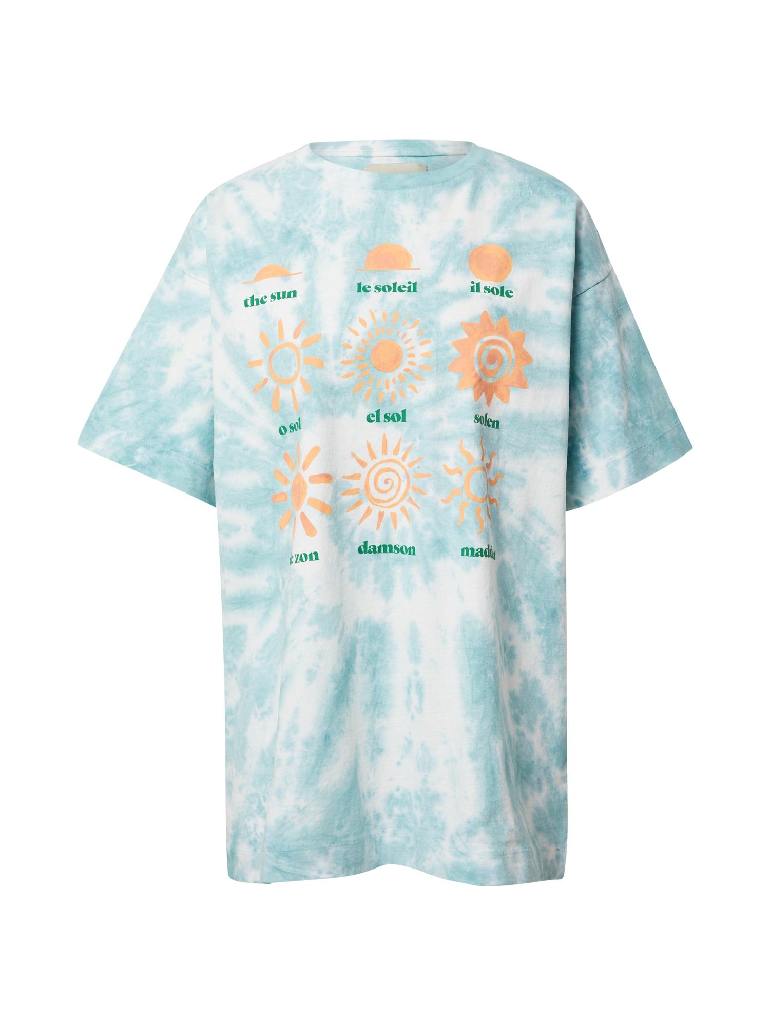 Damson Madder Marškinėliai šviesiai mėlyna / persikų spalva / žalia / balta