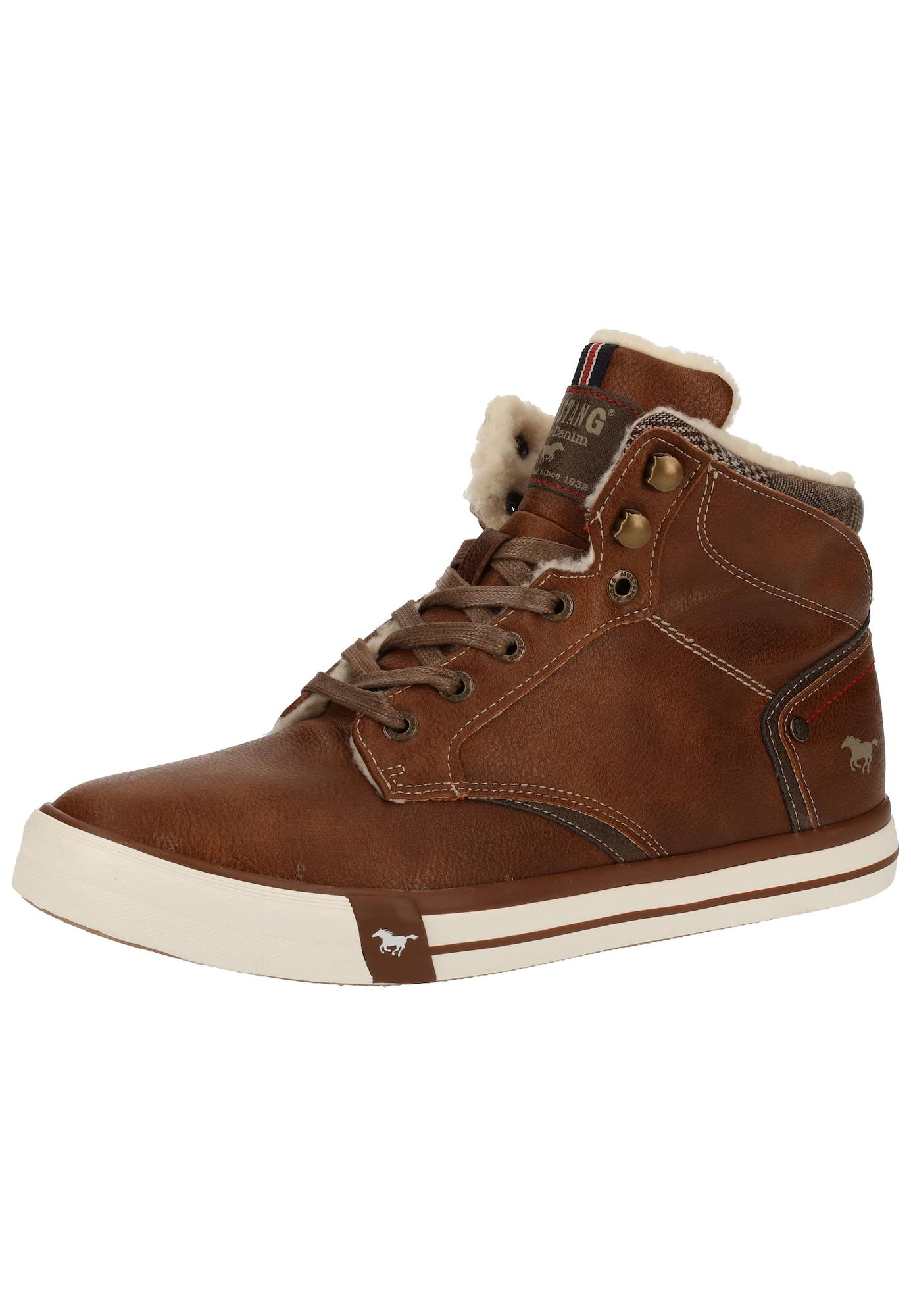 MUSTANG Auliniai batai su raišteliais ruda