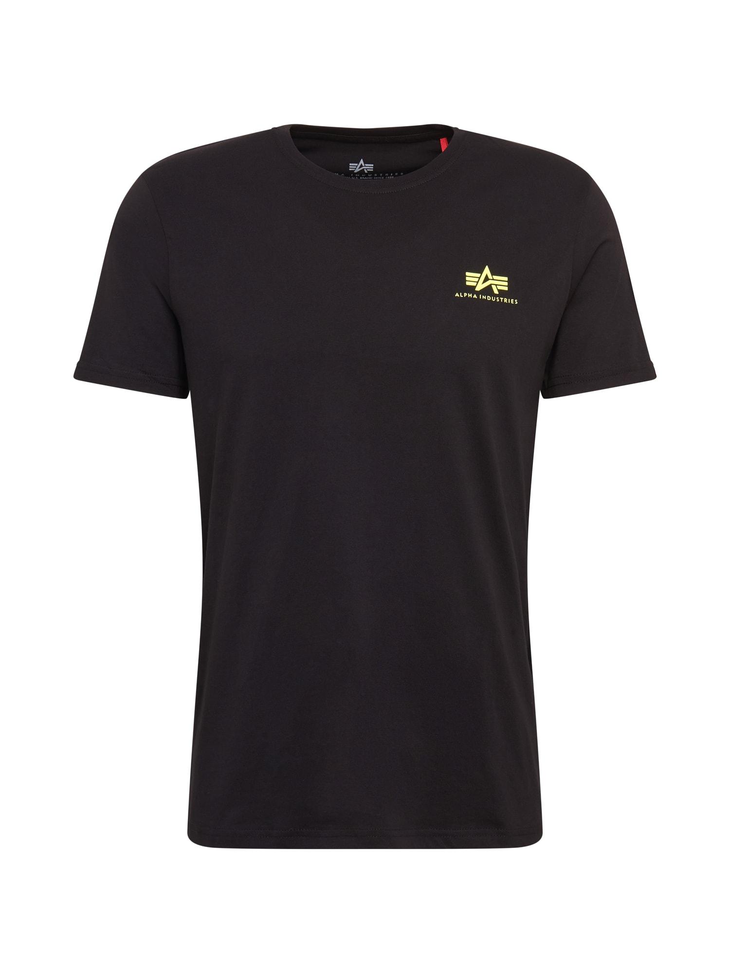 ALPHA INDUSTRIES Marškinėliai neoninė geltona / juoda