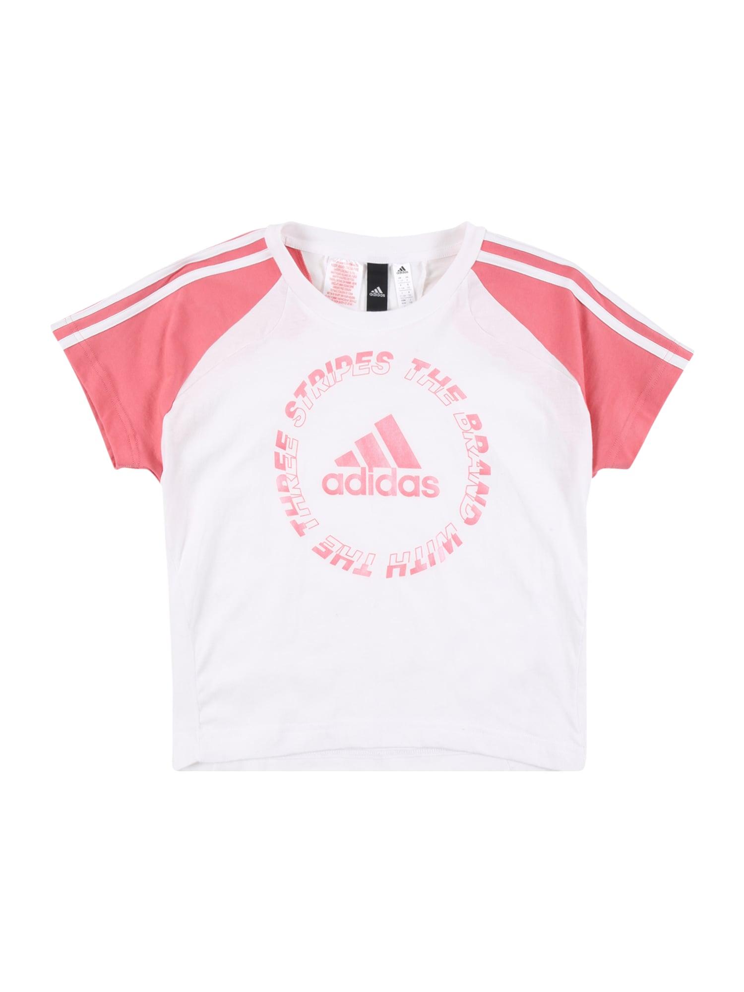 ADIDAS PERFORMANCE Sportiniai marškinėliai balta / rožinė