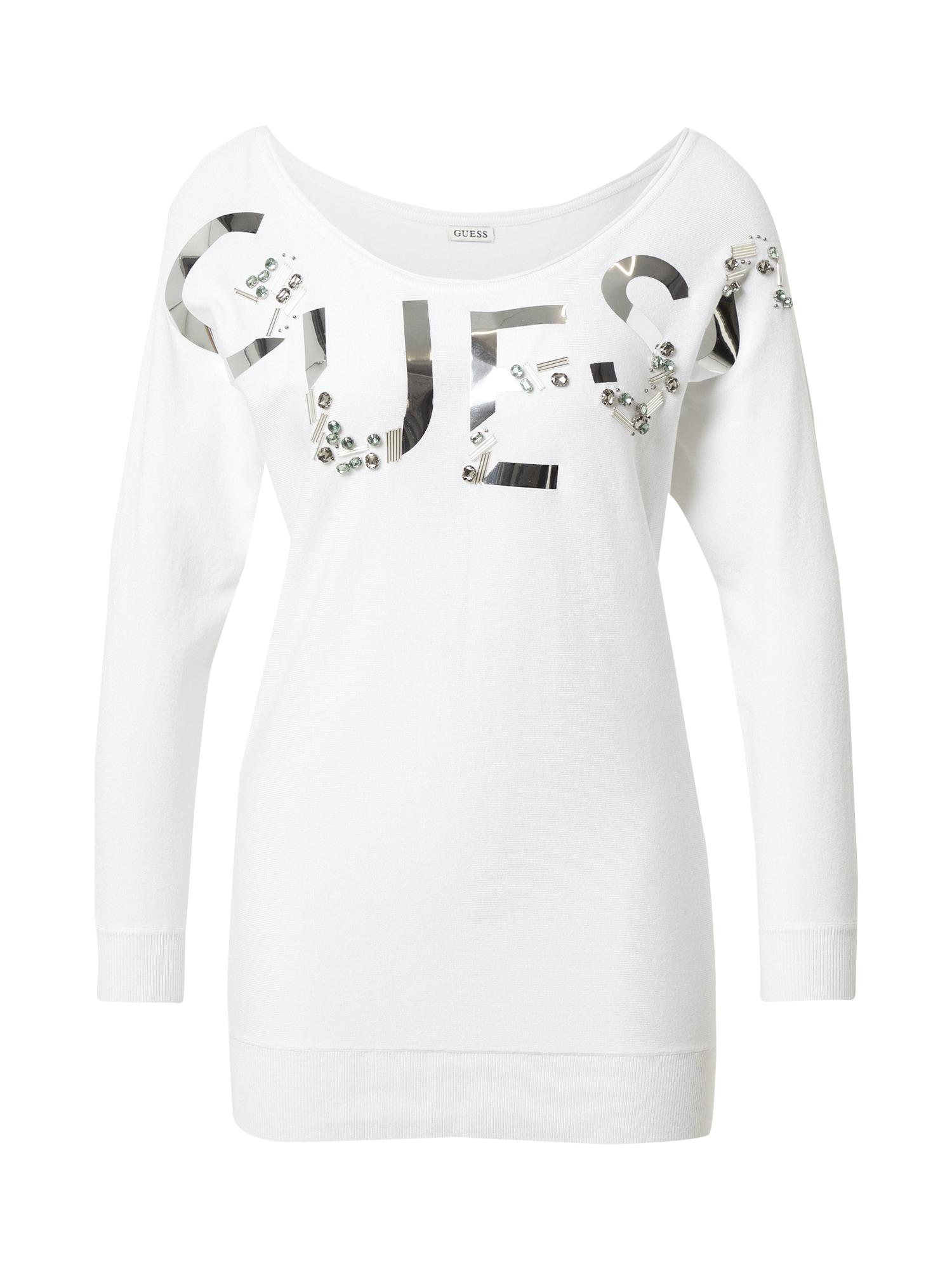 GUESS Megztinis 'DORIS' balta / sidabrinė