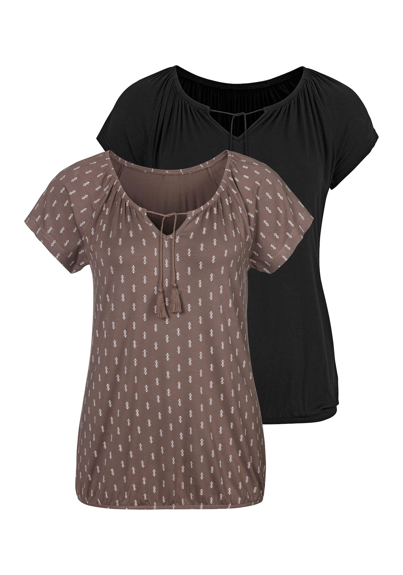 VIVANCE Marškinėliai juoda / ruda