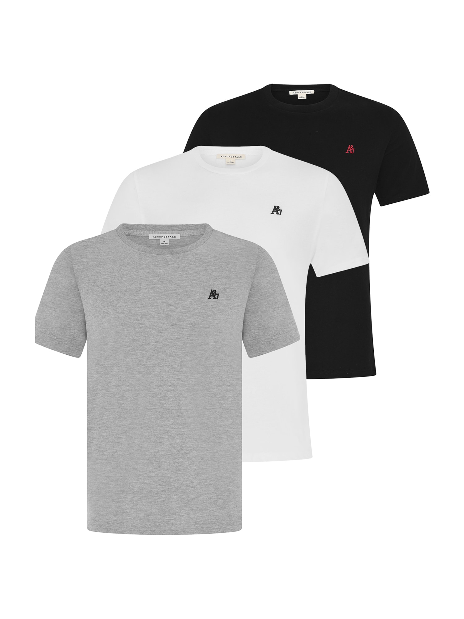 AÉROPOSTALE Marškinėliai juoda / balta / margai pilka