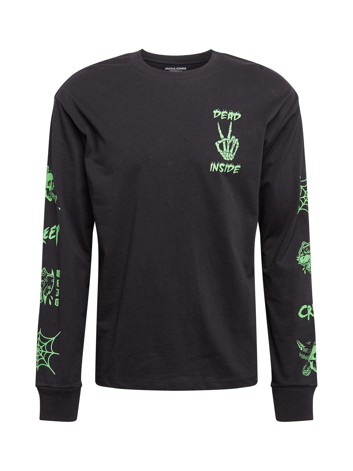 JACK & JONES Marškinėliai juoda / neoninė žalia