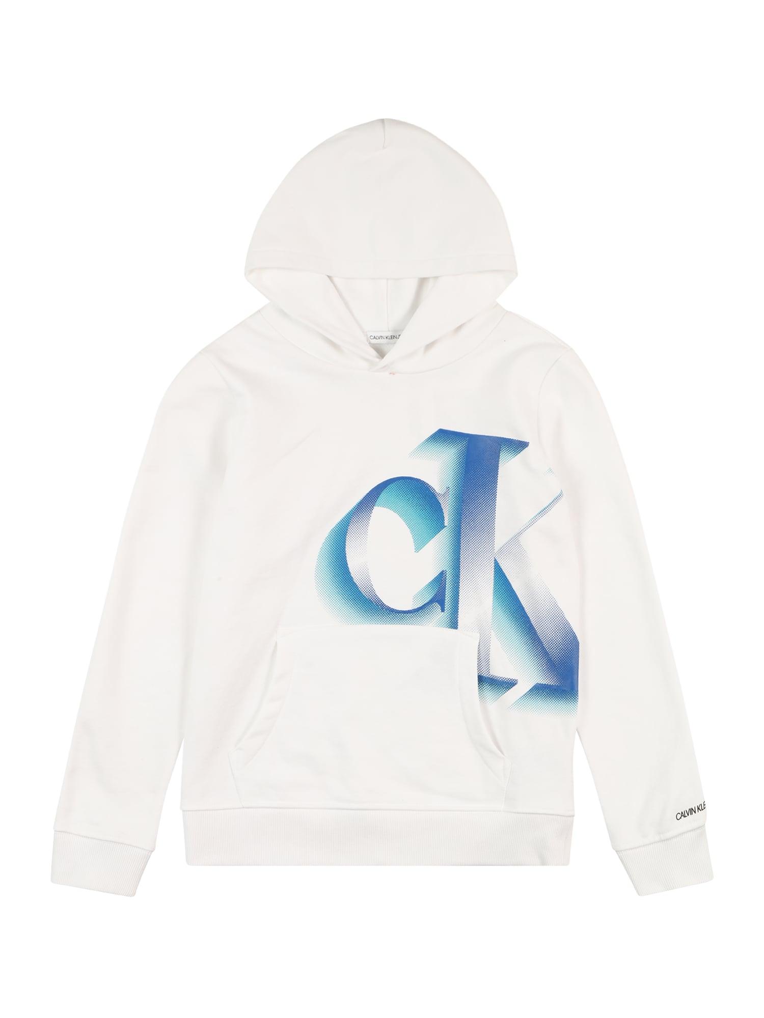 Calvin Klein Jeans Megztinis be užsegimo 'PIXELATED MONOGRAM LOGO' balta / mėlyna