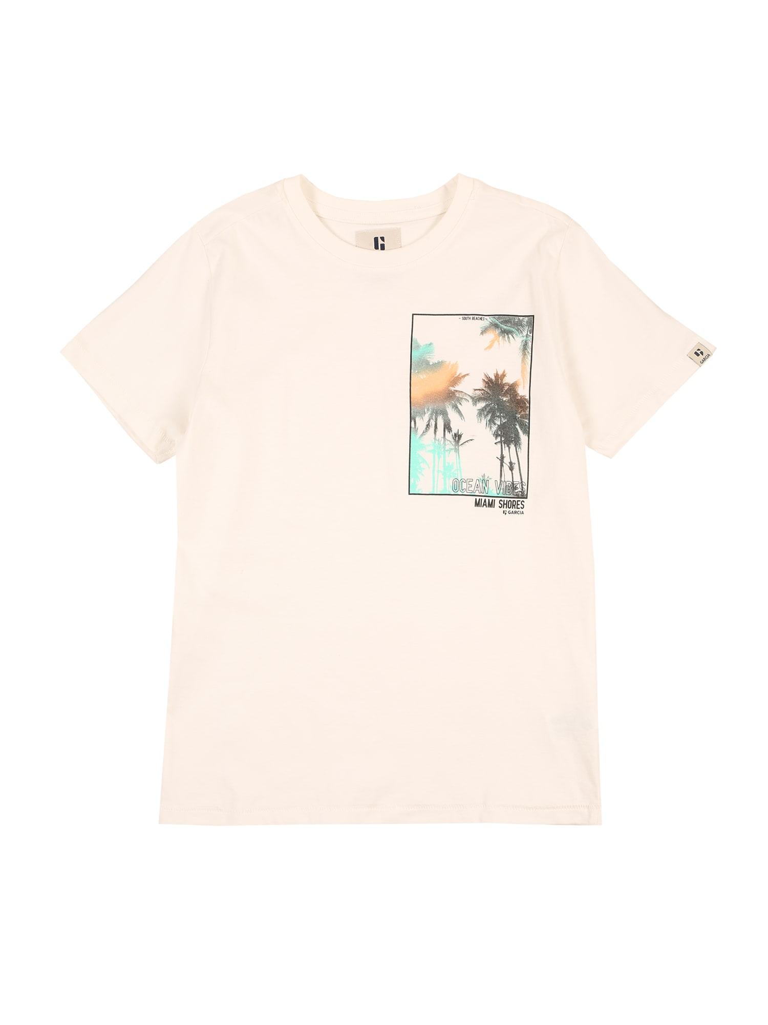GARCIA Marškinėliai balkšva / oranžinė / nefrito spalva / juoda