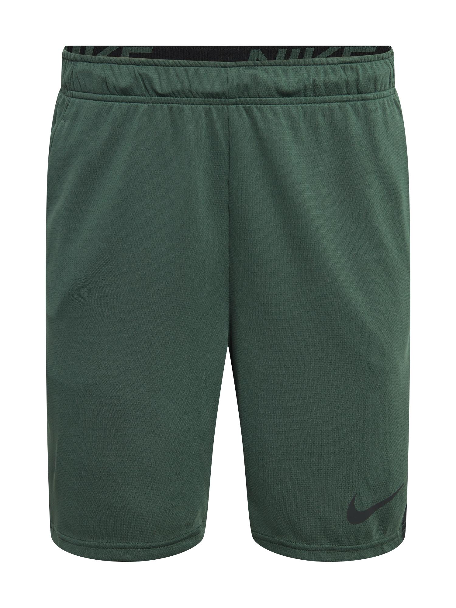 NIKE Sportovní kalhoty  černá / tmavě zelená